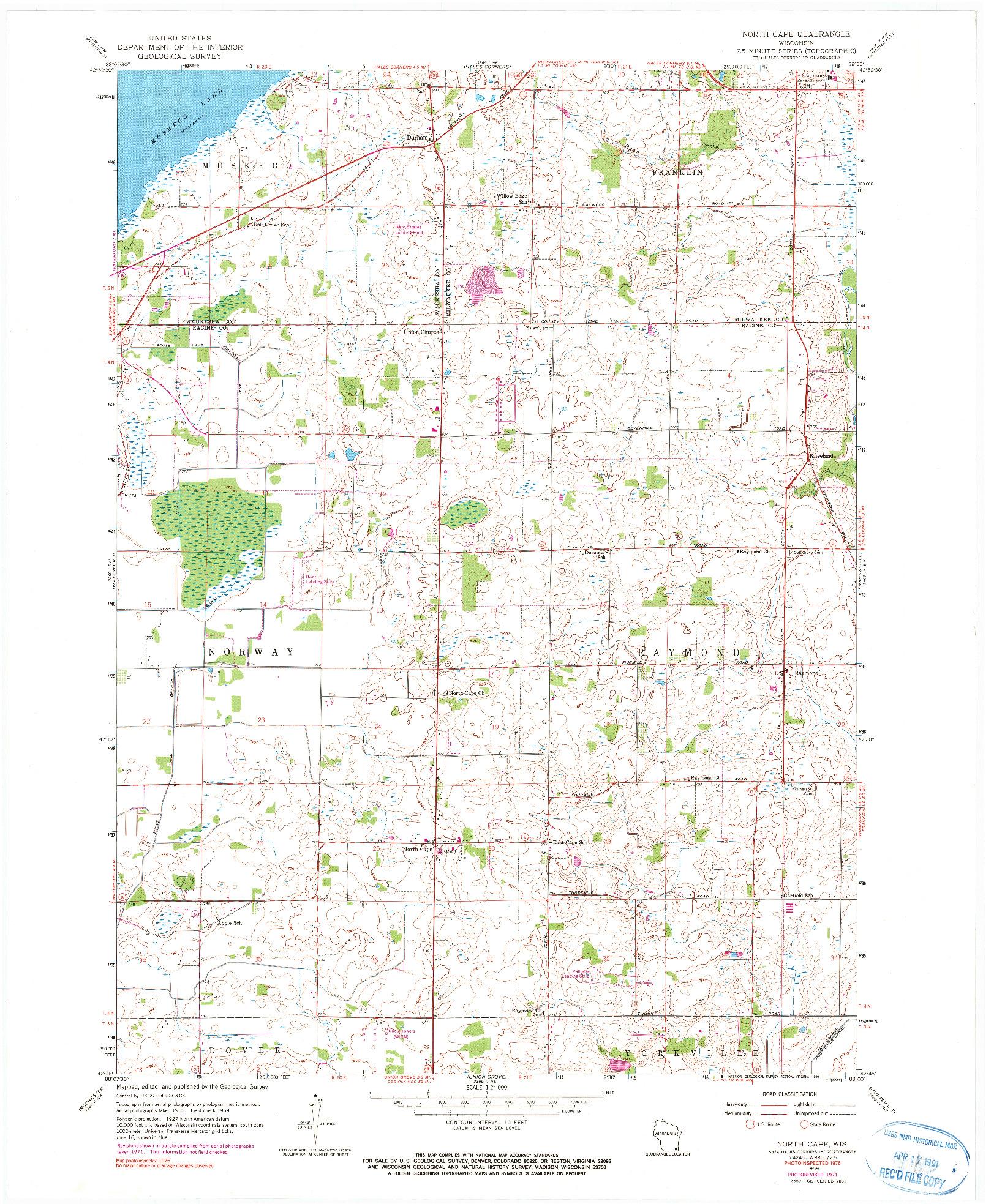USGS 1:24000-SCALE QUADRANGLE FOR NORTH CAPE, WI 1959