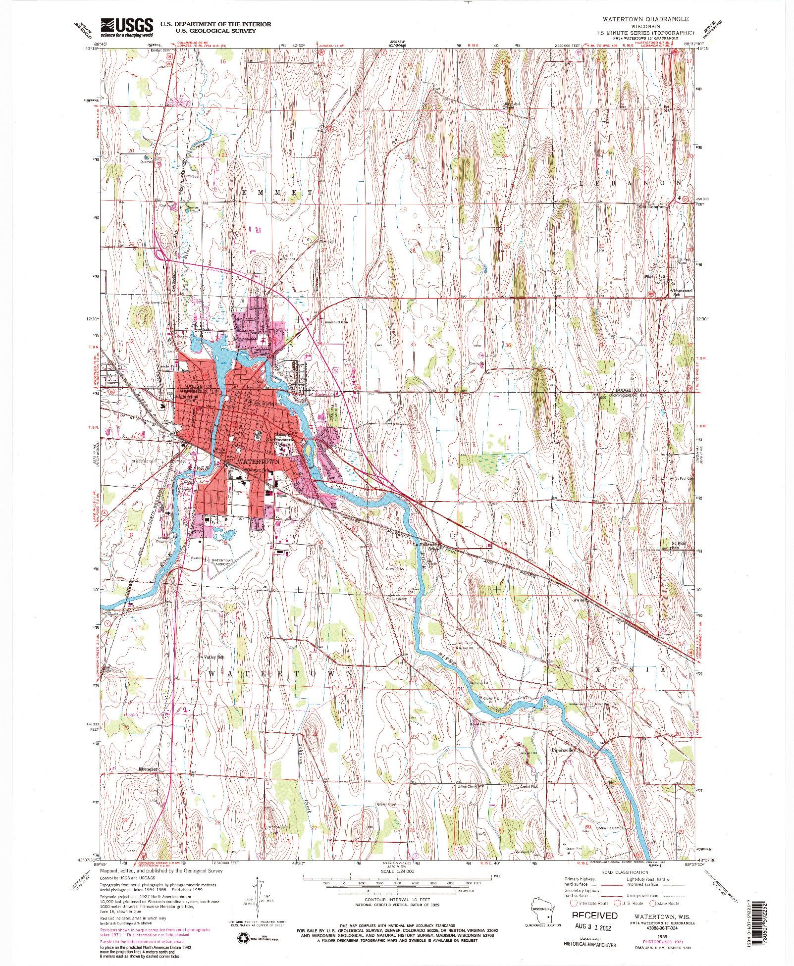 USGS 1:24000-SCALE QUADRANGLE FOR WATERTOWN, WI 1959