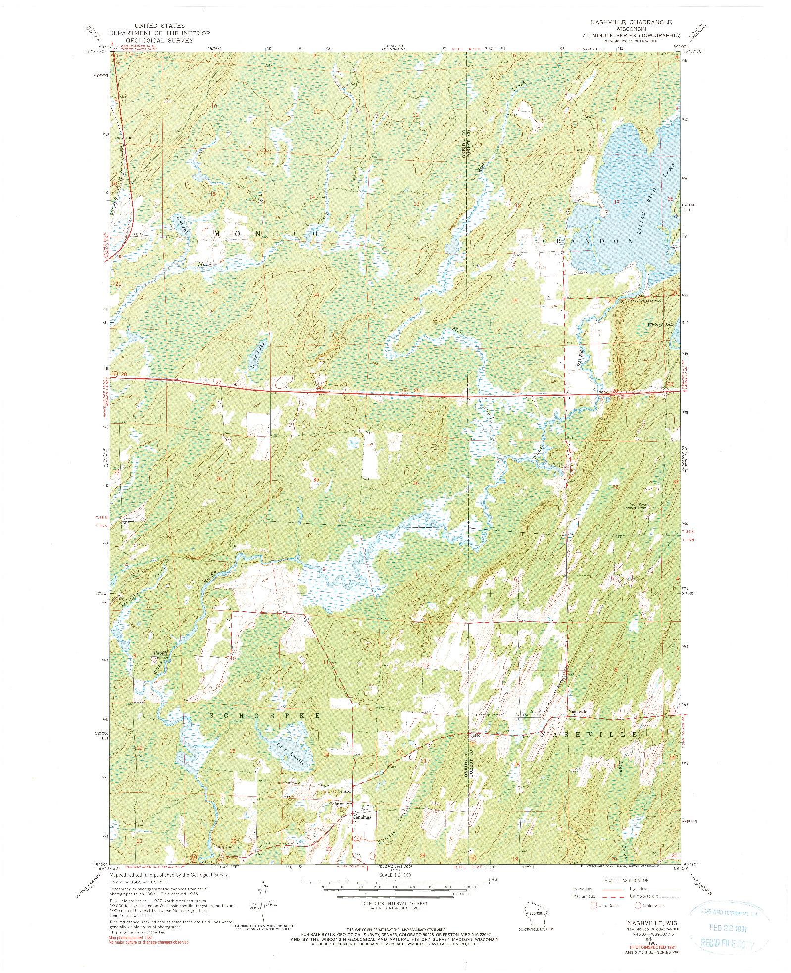 USGS 1:24000-SCALE QUADRANGLE FOR NASHVILLE, WI 1965