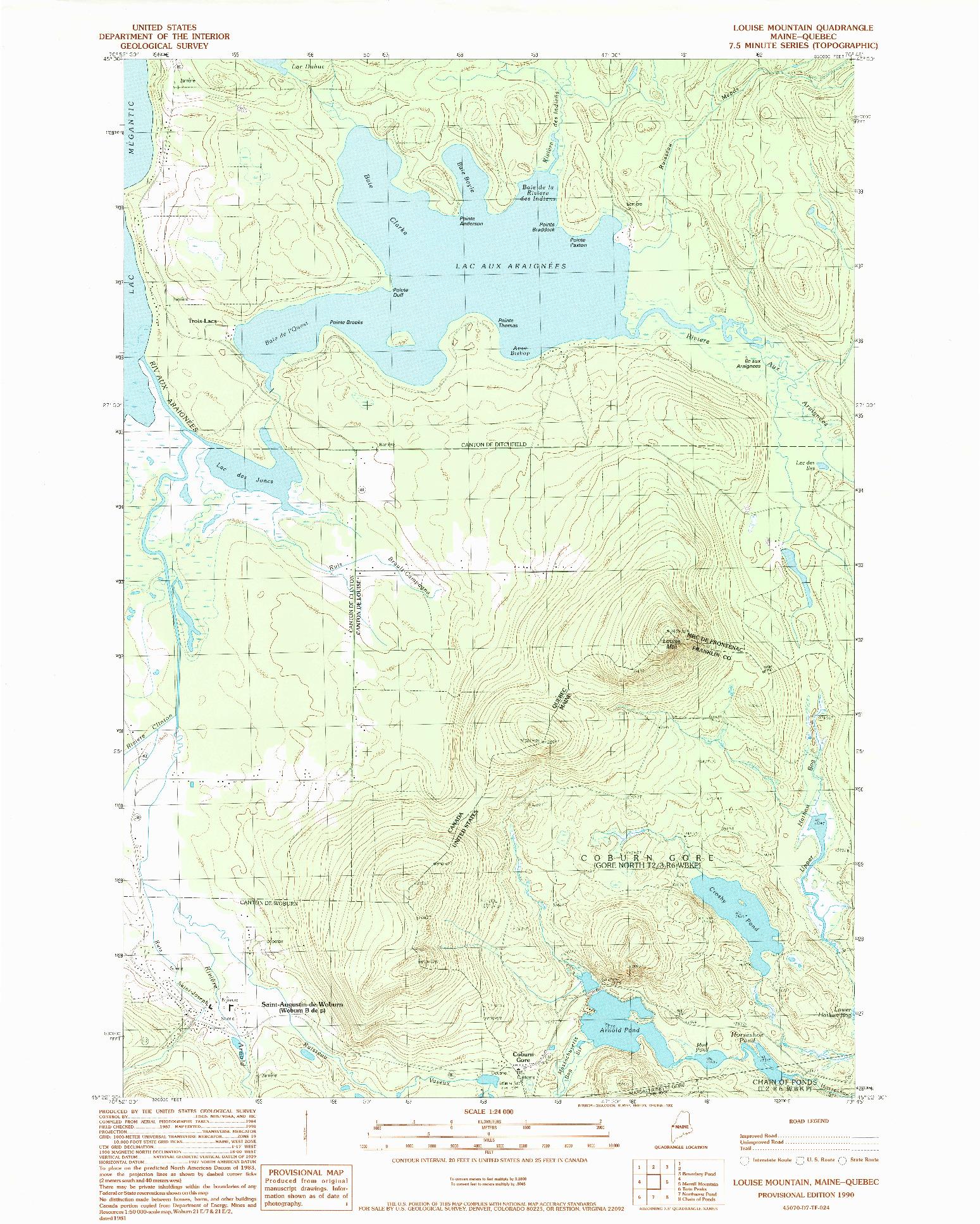 USGS 1:24000-SCALE QUADRANGLE FOR LOUISE MOUNTAIN, ME 1990