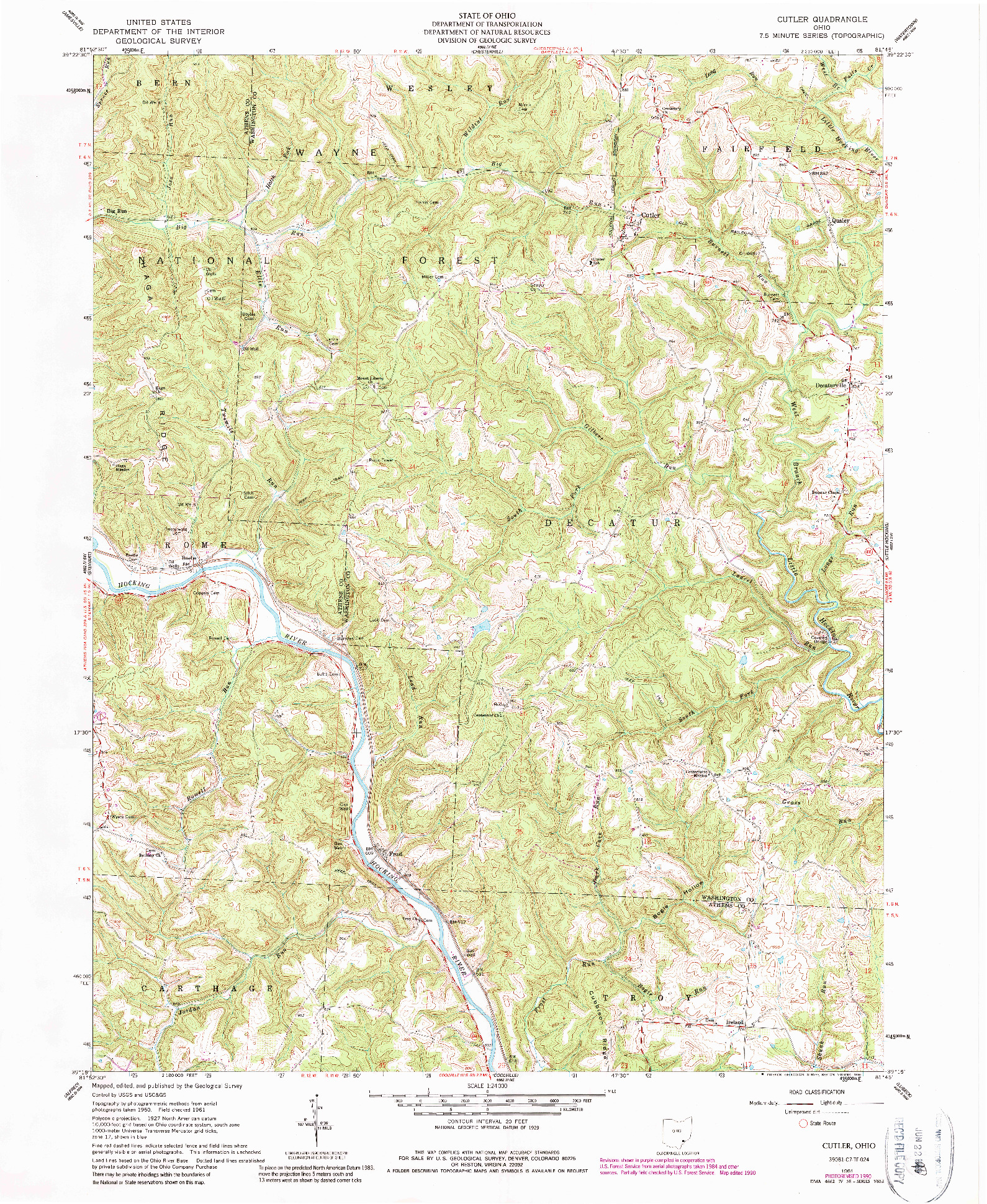 USGS 1:24000-SCALE QUADRANGLE FOR CUTLER, OH 1961