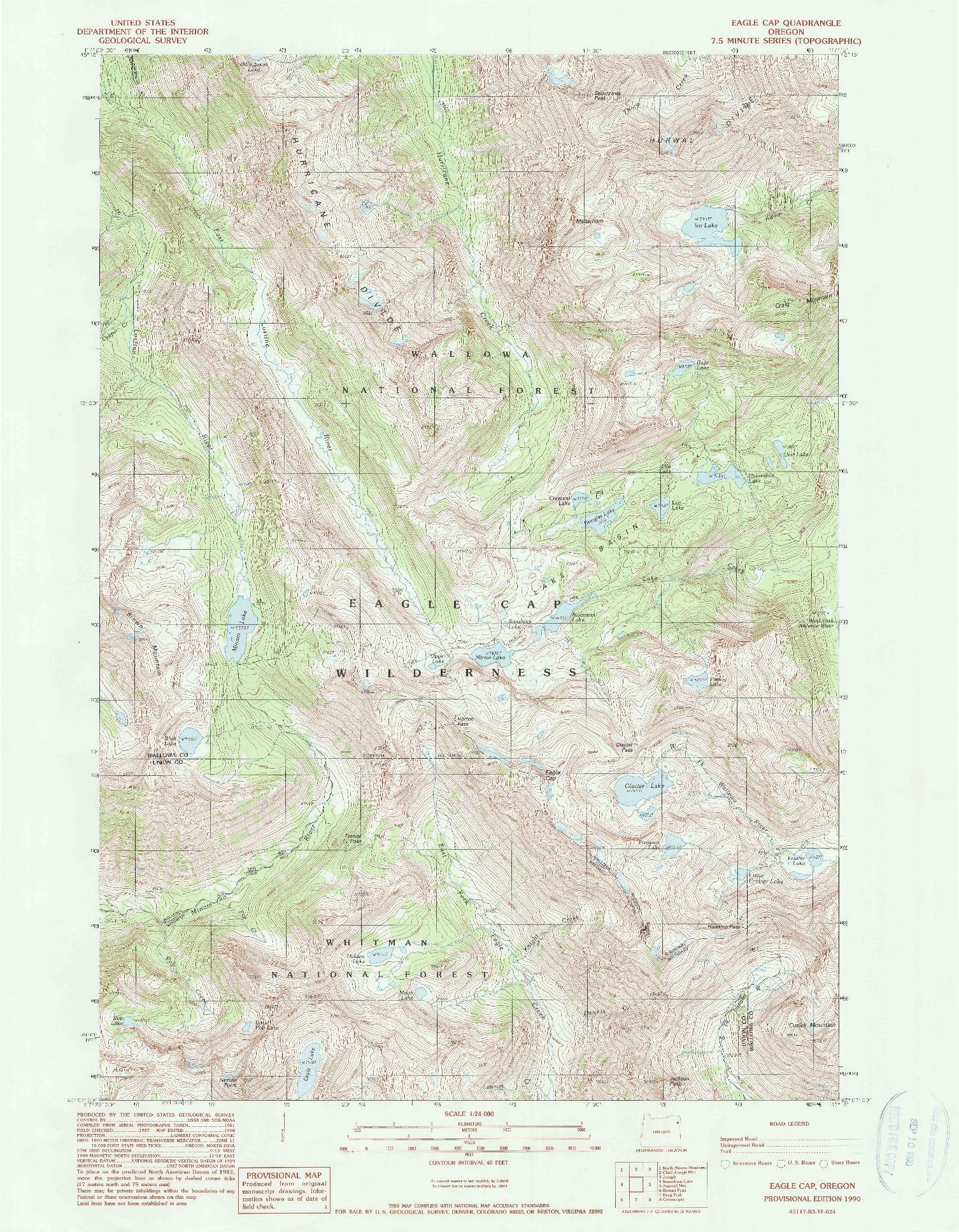 USGS 1:24000-SCALE QUADRANGLE FOR EAGLE CAP, OR 1990