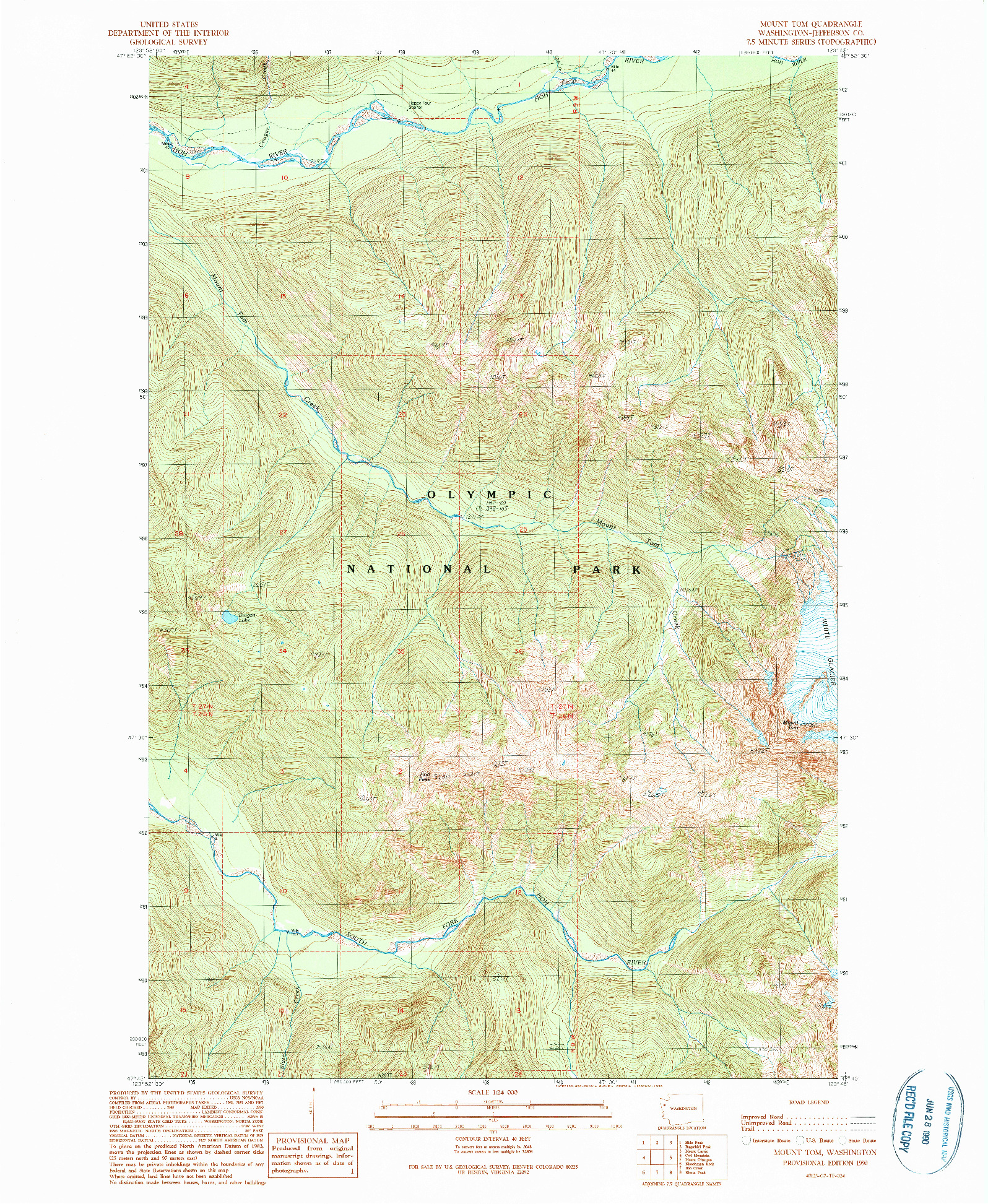 USGS 1:24000-SCALE QUADRANGLE FOR MOUNT TOM, WA 1990