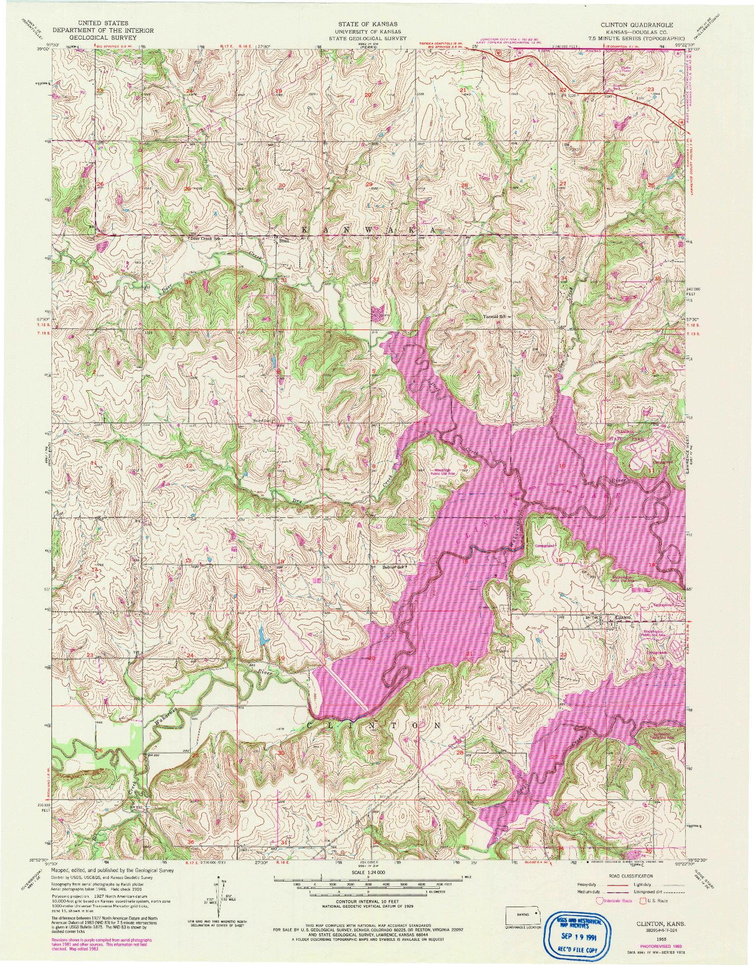 USGS 1:24000-SCALE QUADRANGLE FOR CLINTON, KS 1955