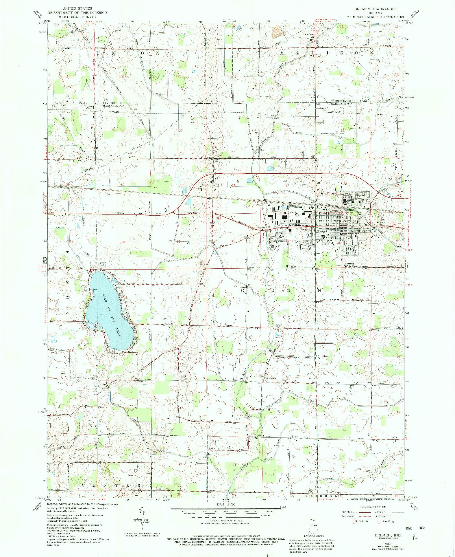 USGS 1:24000-SCALE QUADRANGLE FOR BREMEN, IN 1958