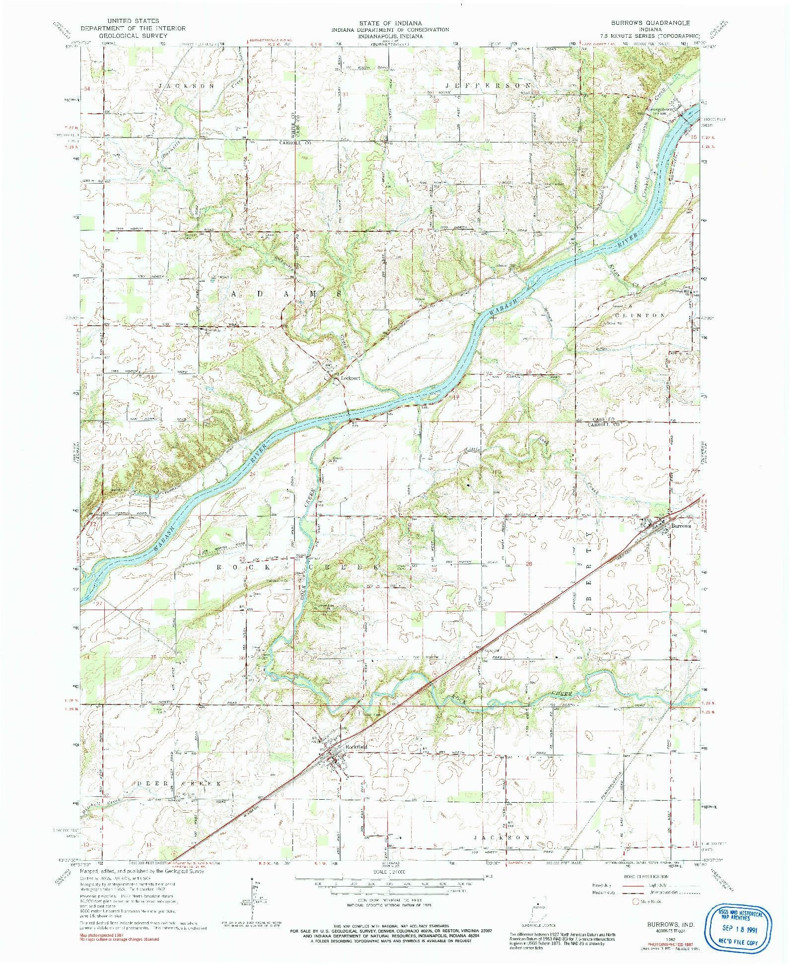 USGS 1:24000-SCALE QUADRANGLE FOR BURROWS, IN 1962