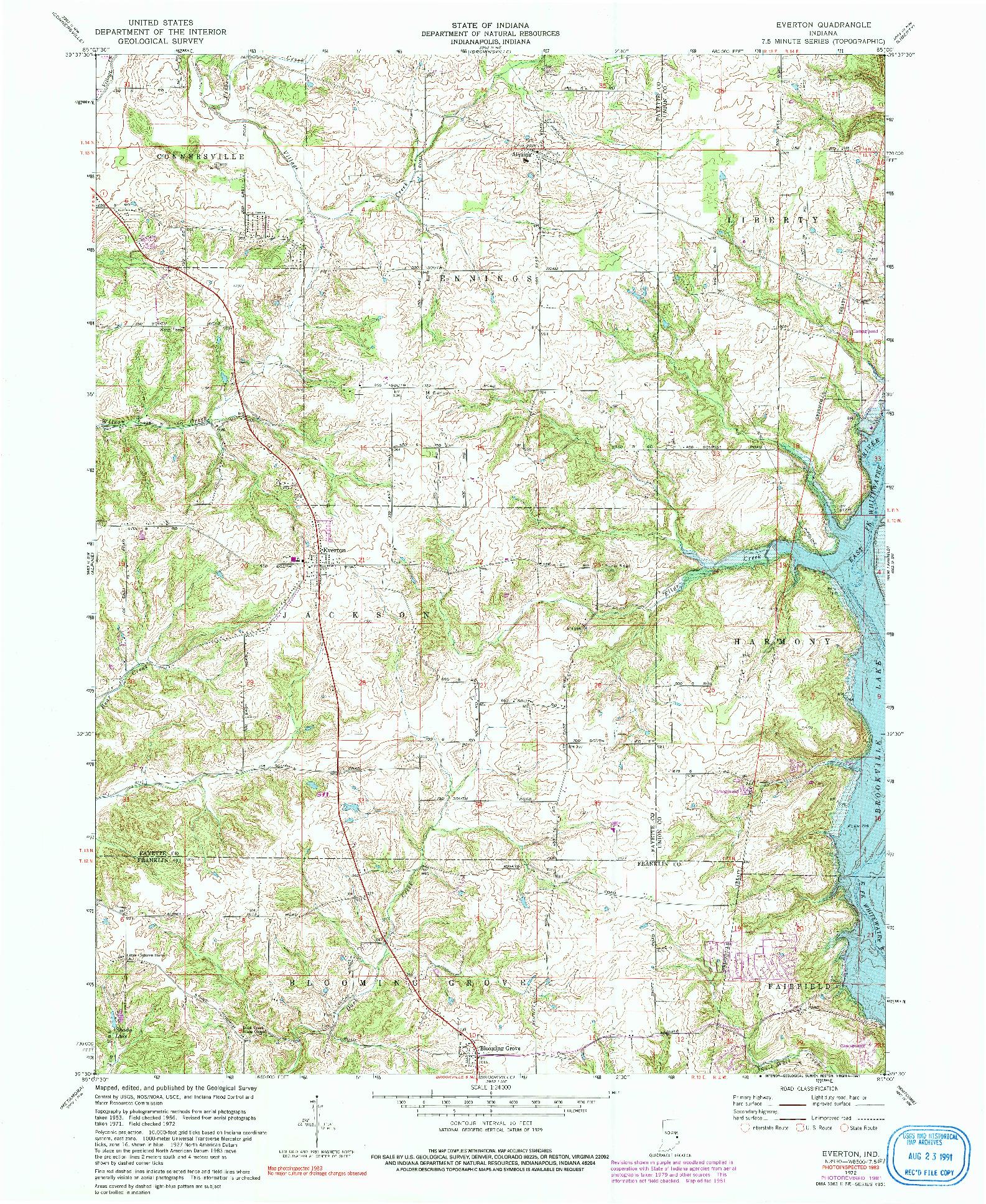 USGS 1:24000-SCALE QUADRANGLE FOR EVERTON, IN 1972