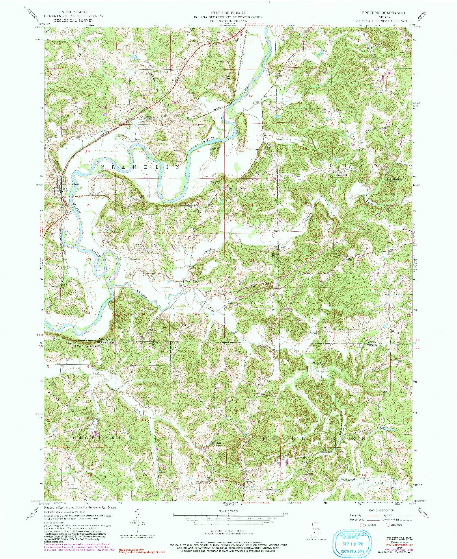 USGS 1:24000-SCALE QUADRANGLE FOR FREEDOM, IN 1956