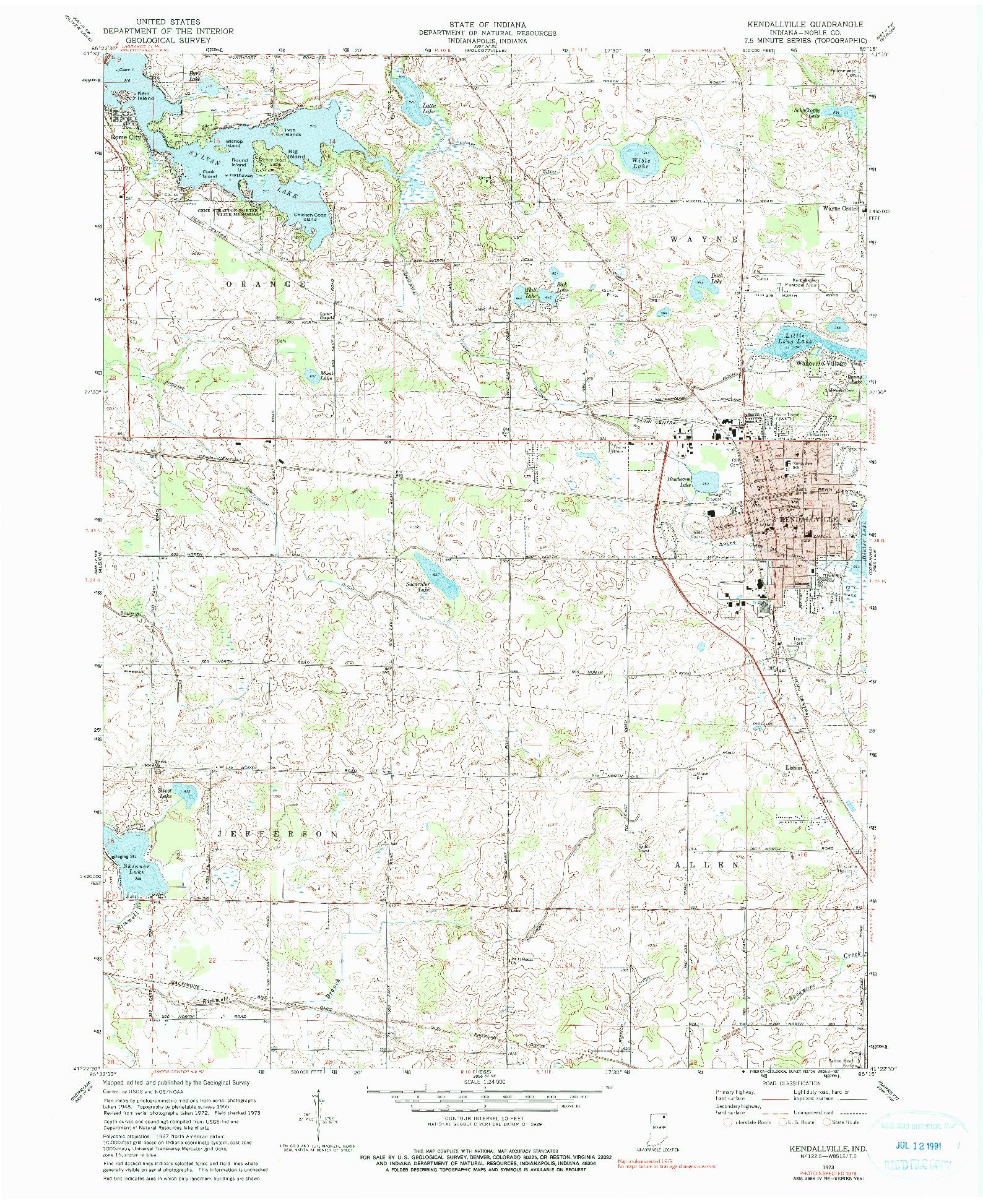 USGS 1:24000-SCALE QUADRANGLE FOR KENDALLVILLE, IN 1973