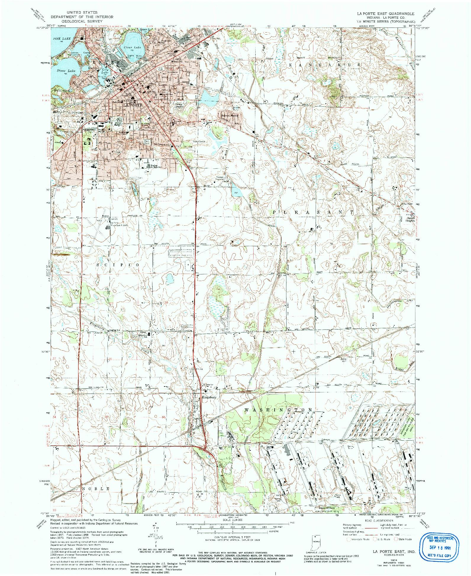 USGS 1:24000-SCALE QUADRANGLE FOR LA PORTE EAST, IN 1974