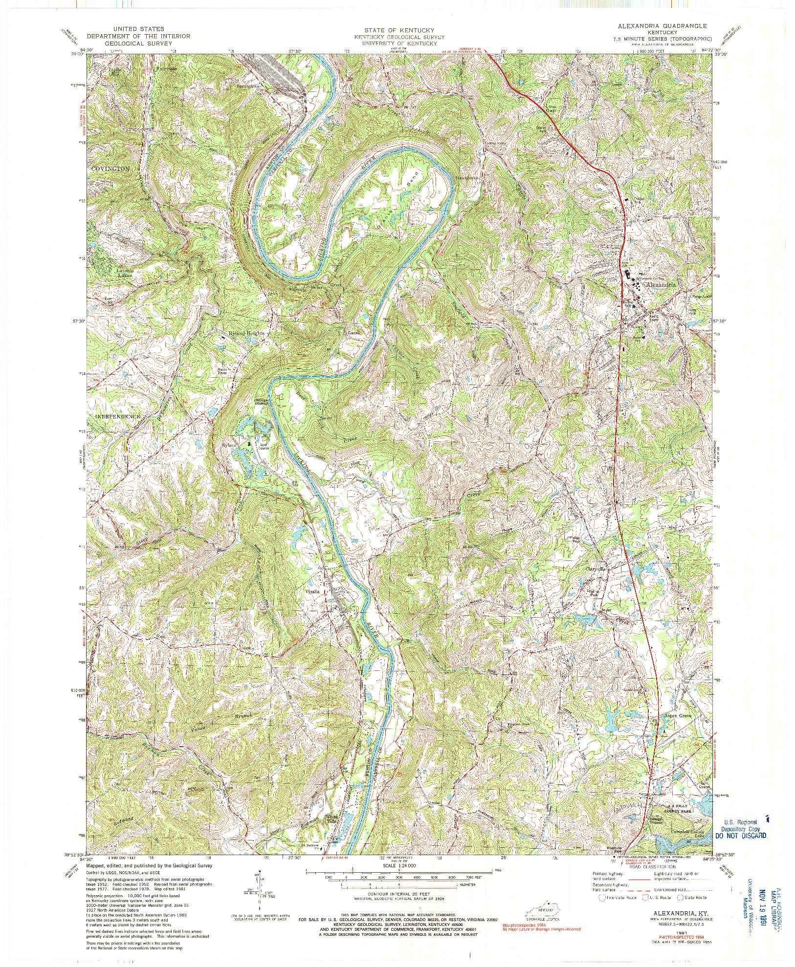 USGS 1:24000-SCALE QUADRANGLE FOR ALEXANDRIA, KY 1981