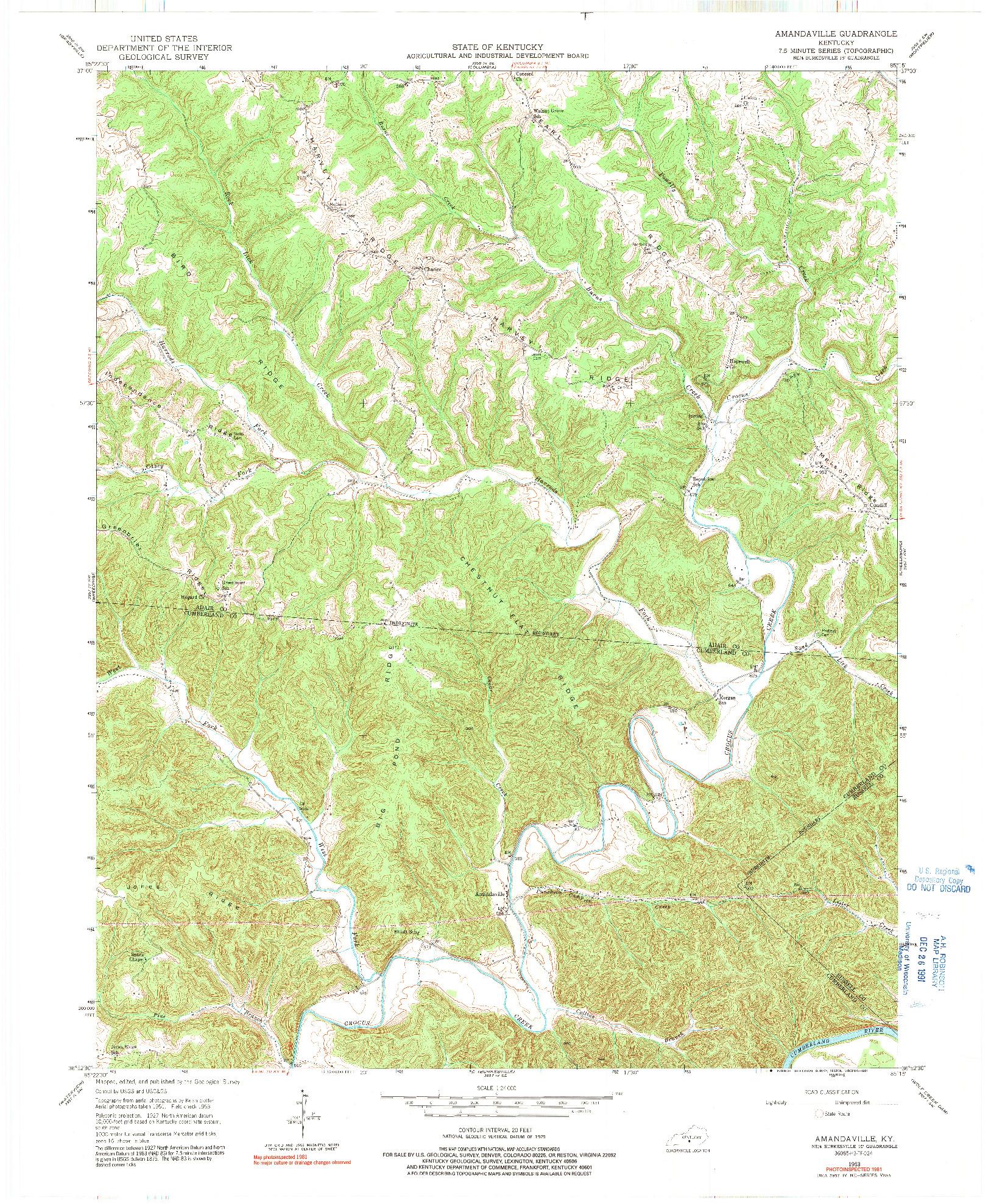 USGS 1:24000-SCALE QUADRANGLE FOR AMANDAVILLE, KY 1953