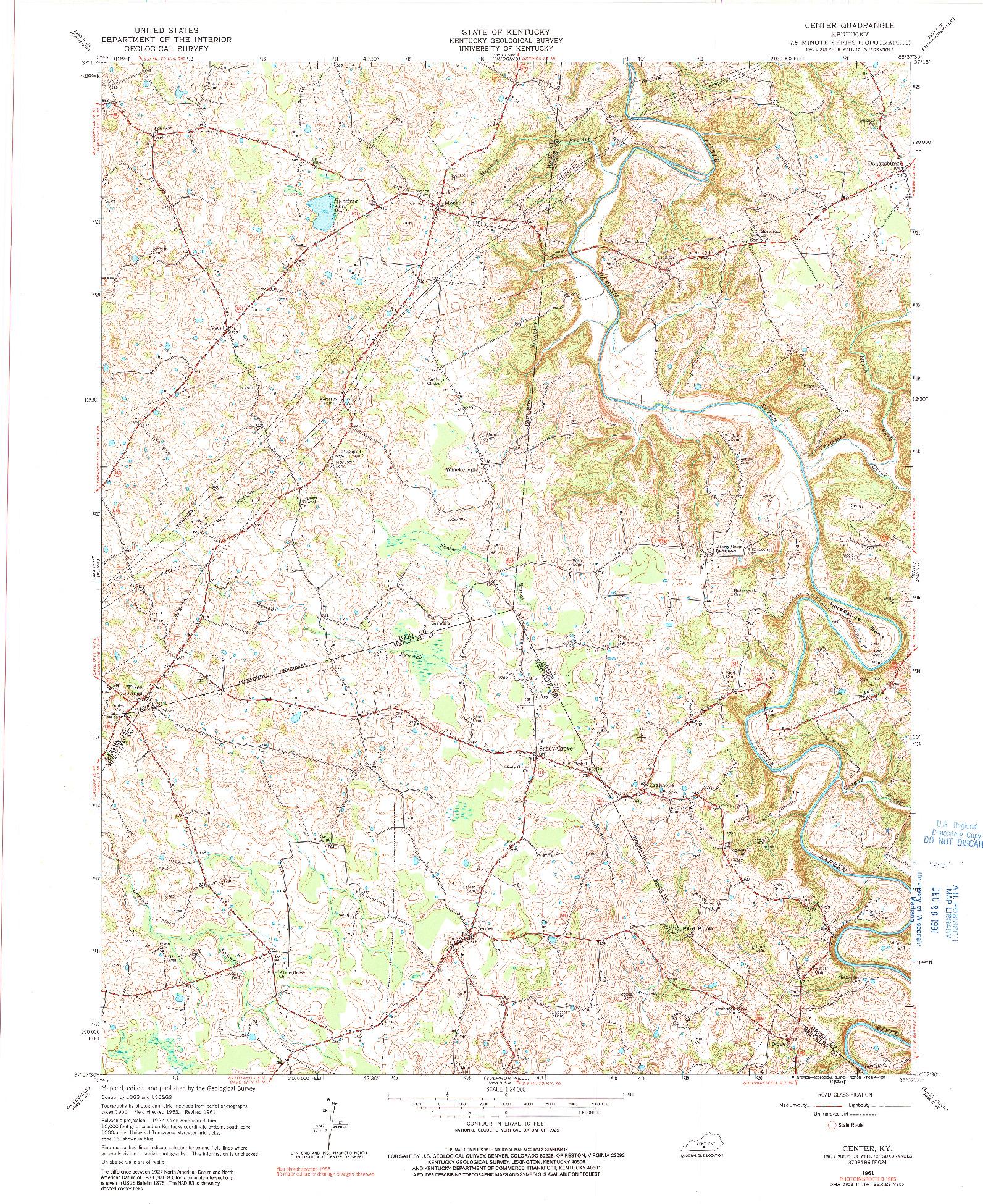 USGS 1:24000-SCALE QUADRANGLE FOR CENTER, KY 1961