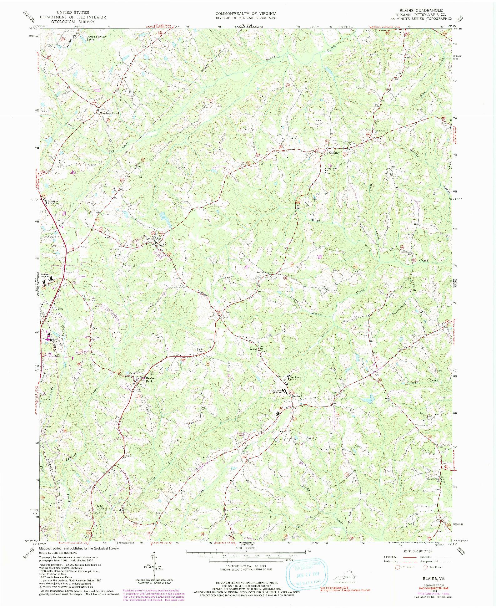 USGS 1:24000-SCALE QUADRANGLE FOR BLAIRS, VA 1964