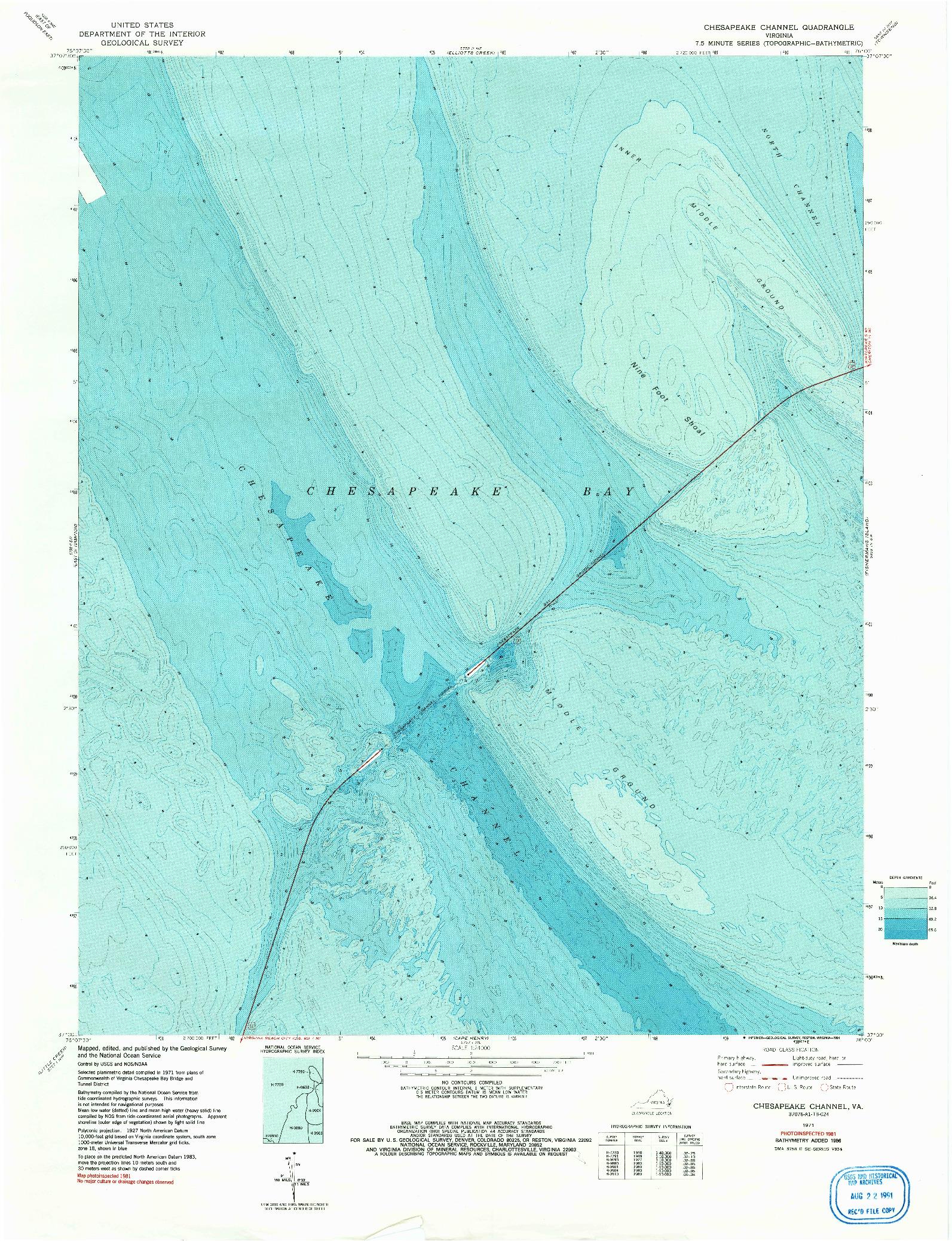 USGS 1:24000-SCALE QUADRANGLE FOR CHESAPEAKE CHANNEL, VA 1971