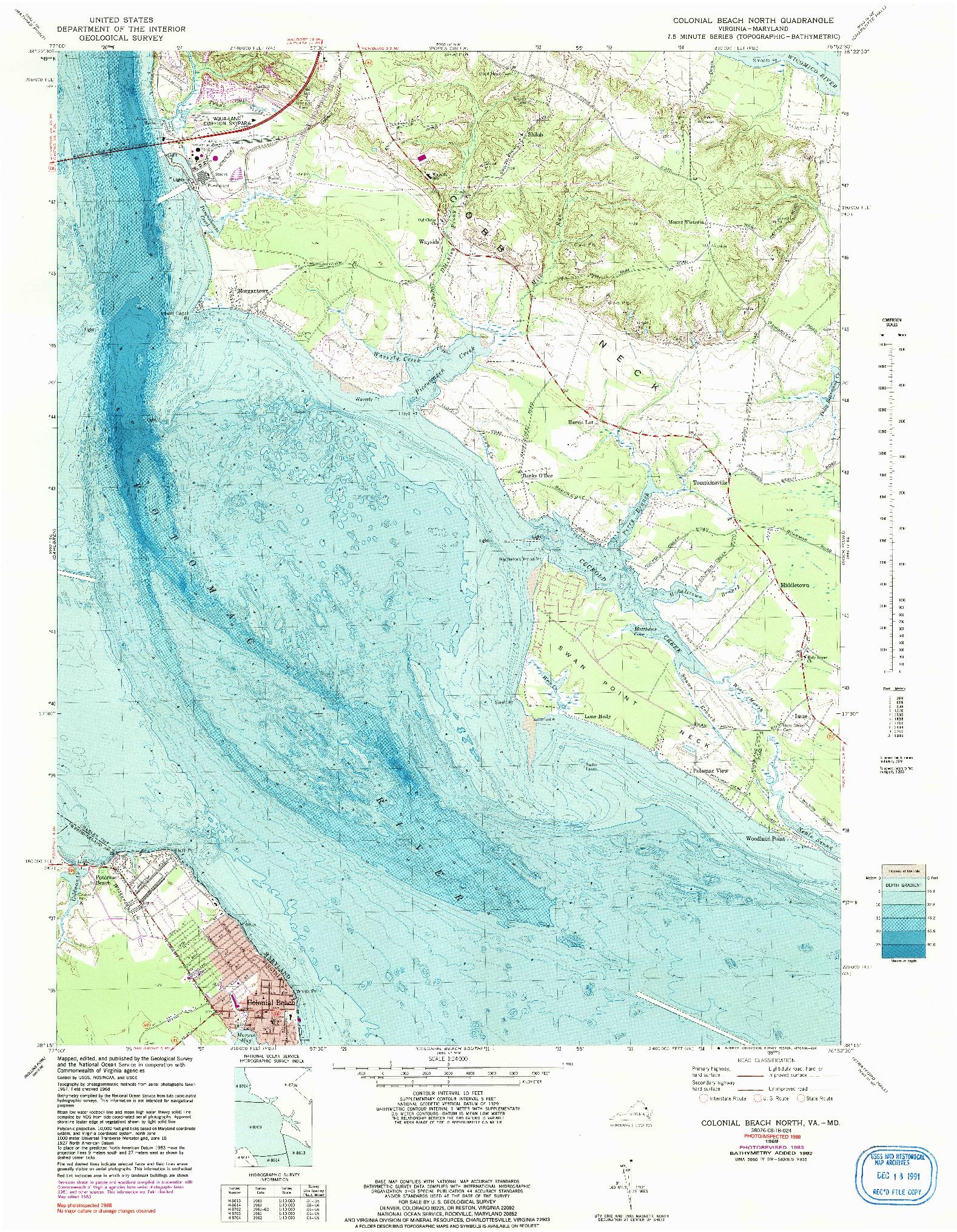 USGS 1:24000-SCALE QUADRANGLE FOR COLONIAL BEACH NORTH, VA 1968