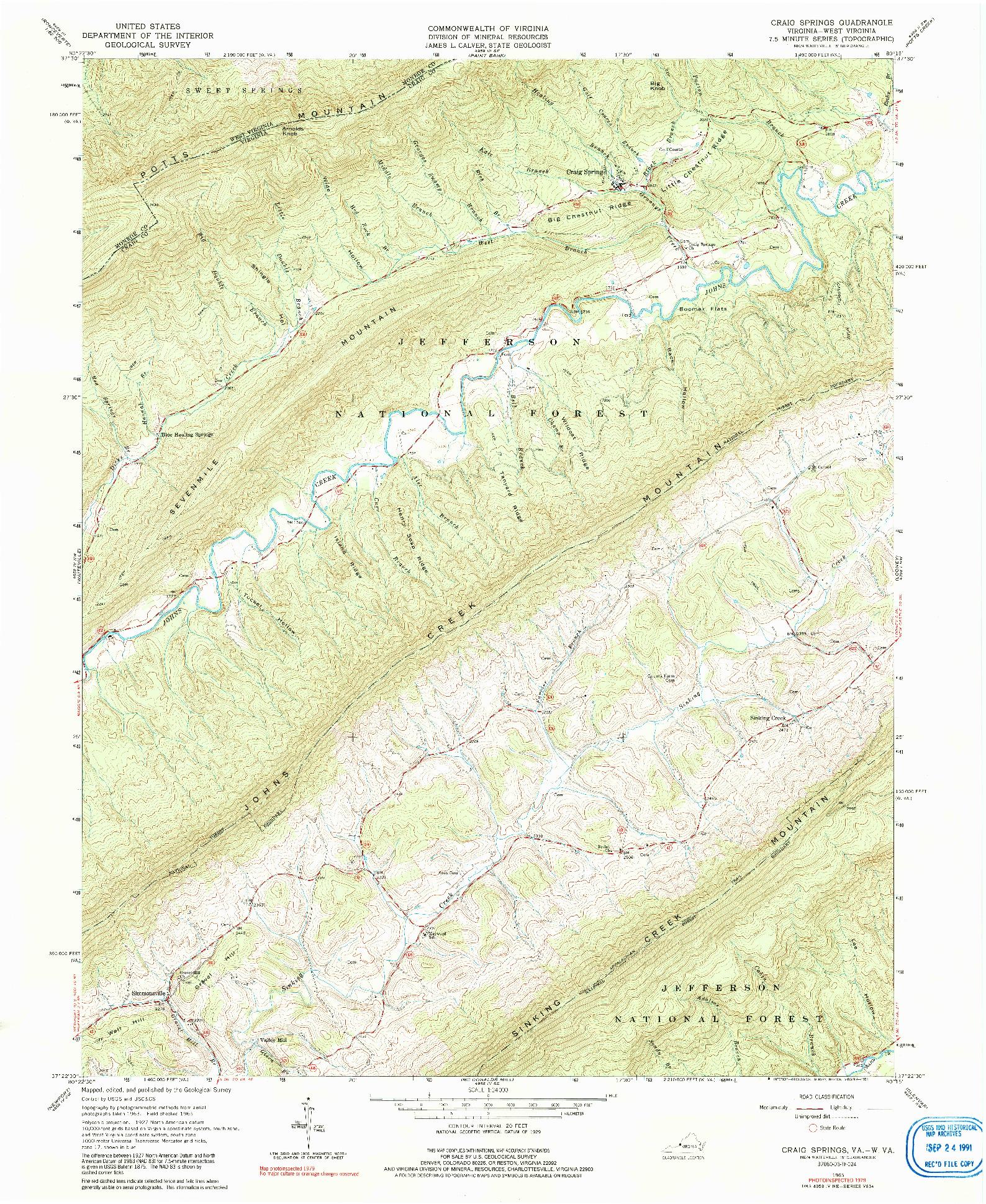 USGS 1:24000-SCALE QUADRANGLE FOR CRAIG SPRINGS, VA 1965