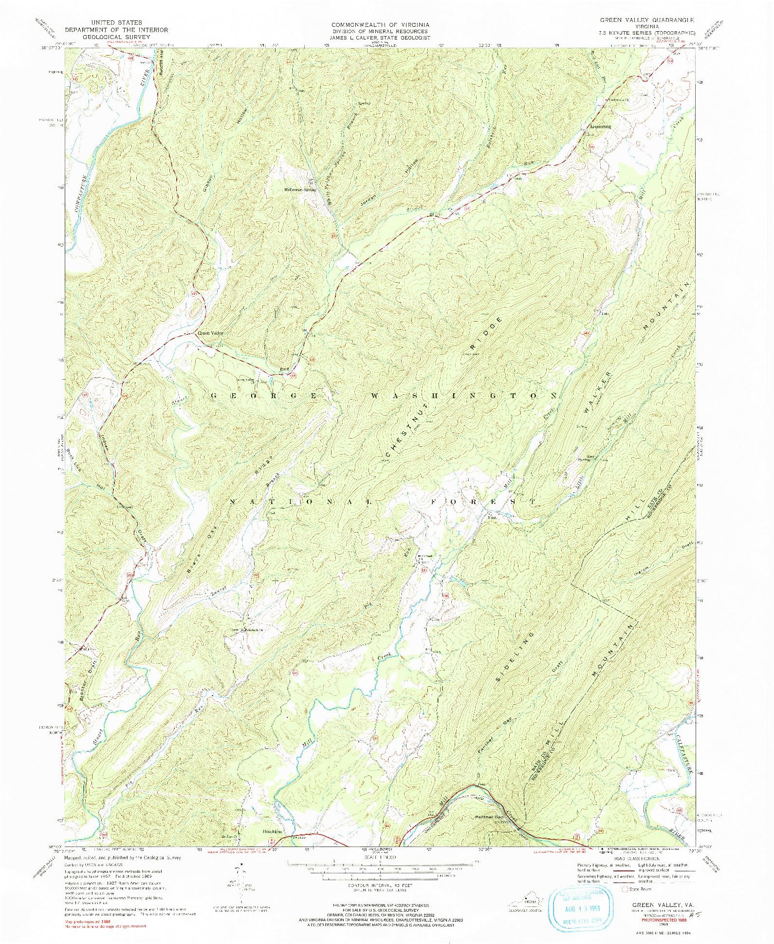 USGS 1:24000-SCALE QUADRANGLE FOR GREEN VALLEY, VA 1969
