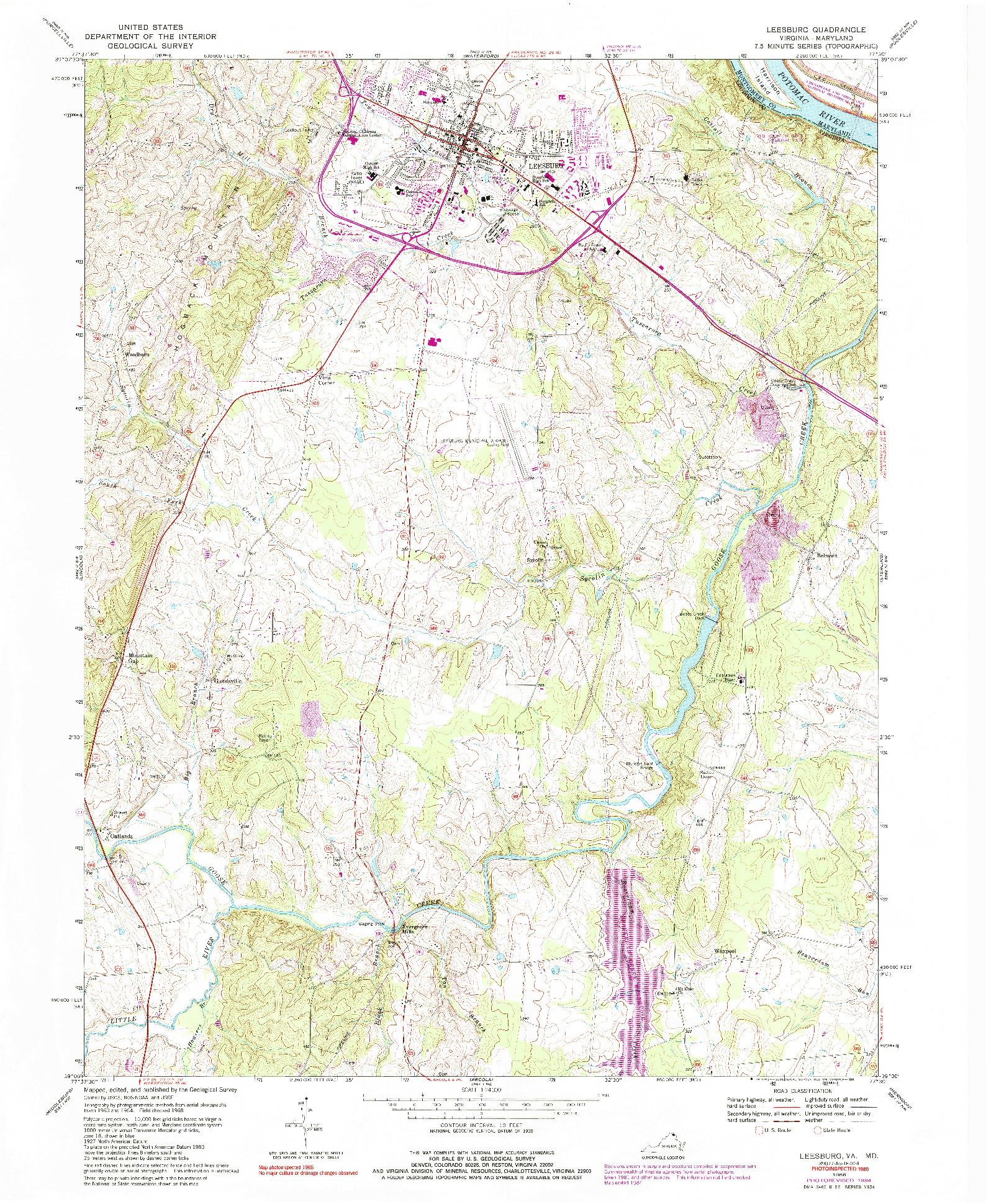 USGS 1:24000-SCALE QUADRANGLE FOR LEESBURG, VA 1968