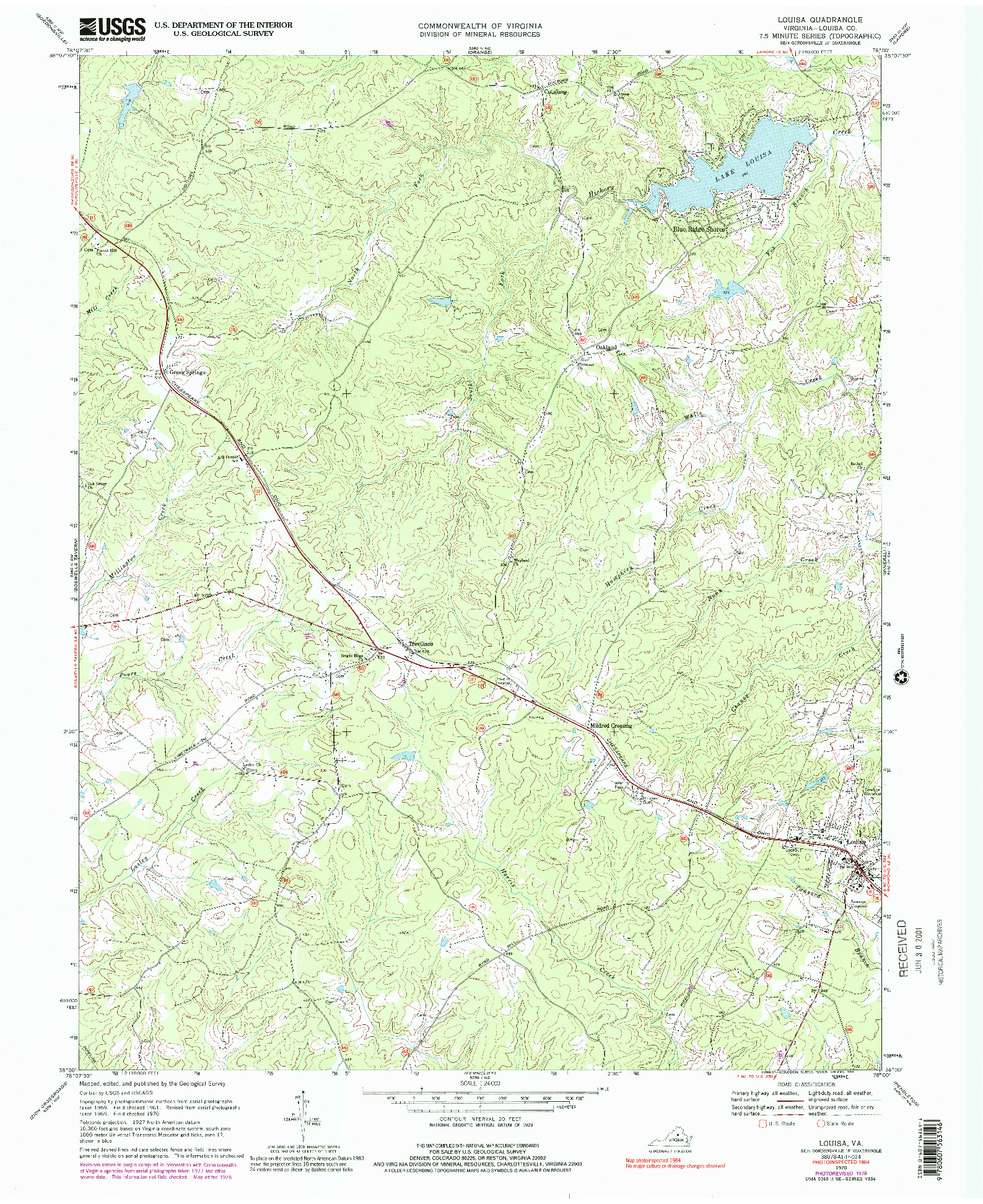 USGS 1:24000-SCALE QUADRANGLE FOR LOUISA, VA 1970