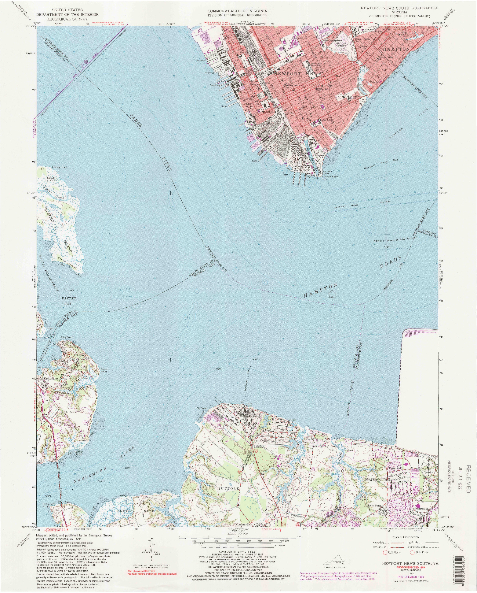 USGS 1:24000-SCALE QUADRANGLE FOR NEWPORT NEWS SOUTH, VA 1964