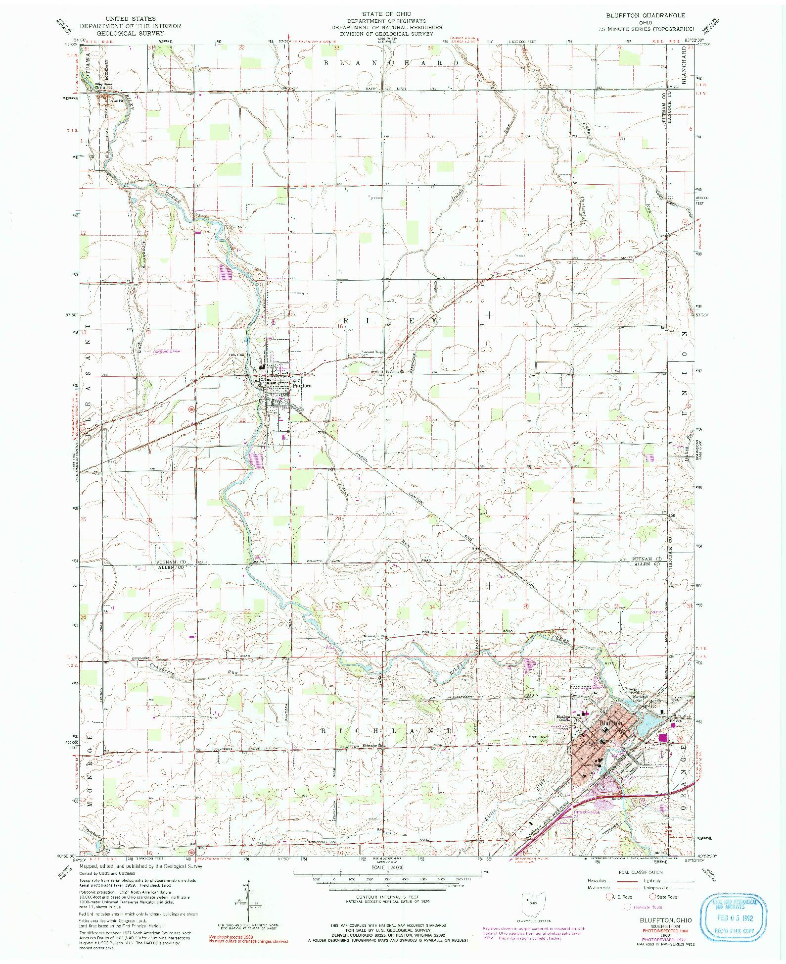 USGS 1:24000-SCALE QUADRANGLE FOR BLUFFTON, OH 1960