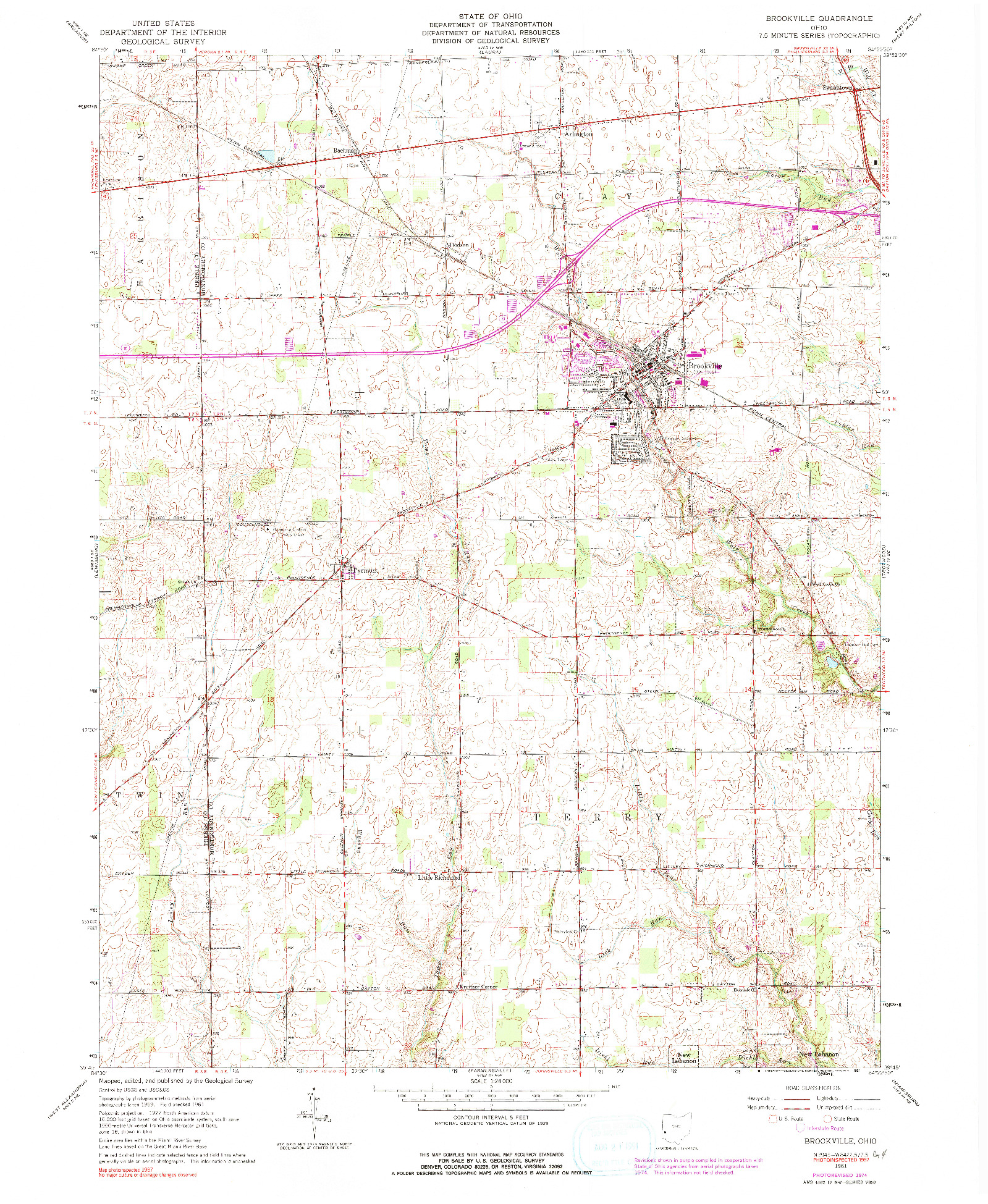 USGS 1:24000-SCALE QUADRANGLE FOR BROOKVILLE, OH 1961