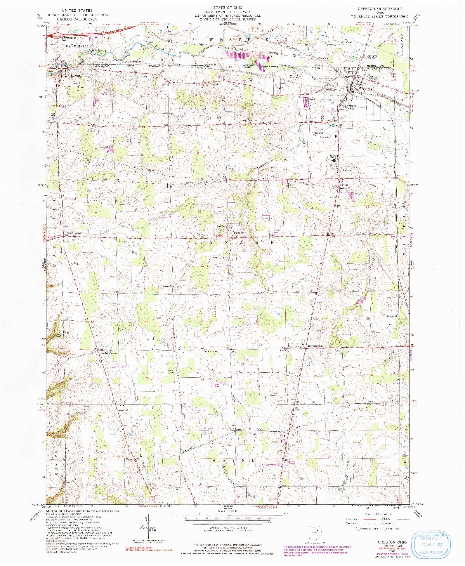 USGS 1:24000-SCALE QUADRANGLE FOR CRESTON, OH 1961