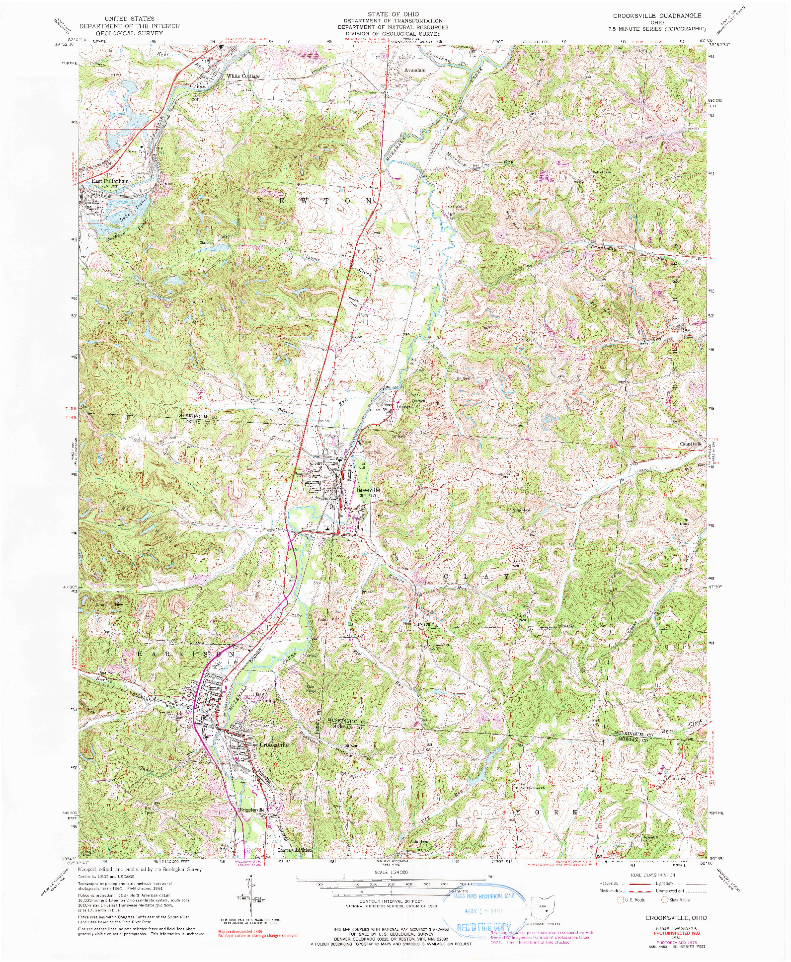 USGS 1:24000-SCALE QUADRANGLE FOR CROOKSVILLE, OH 1961