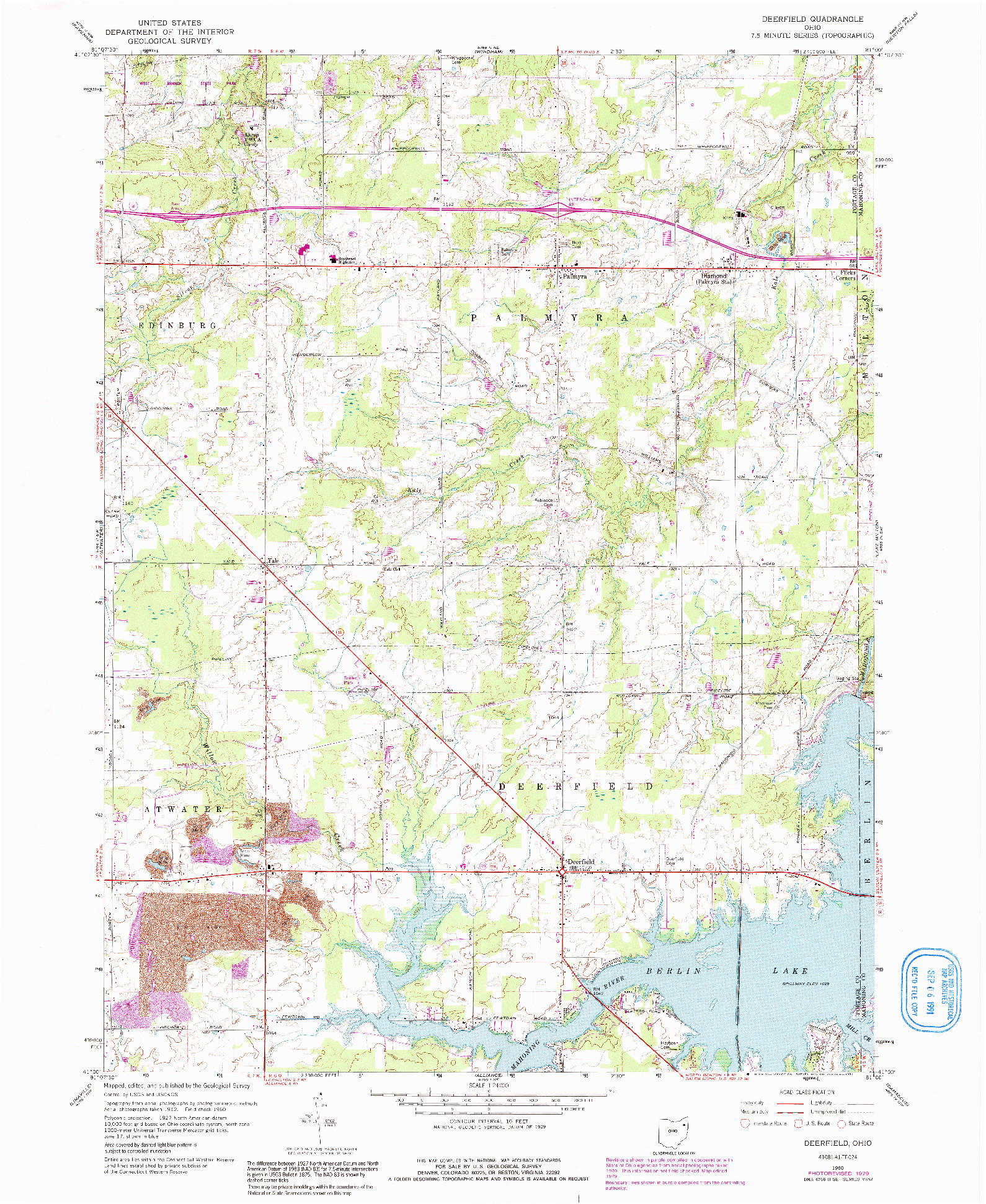 USGS 1:24000-SCALE QUADRANGLE FOR DEERFIELD, OH 1960