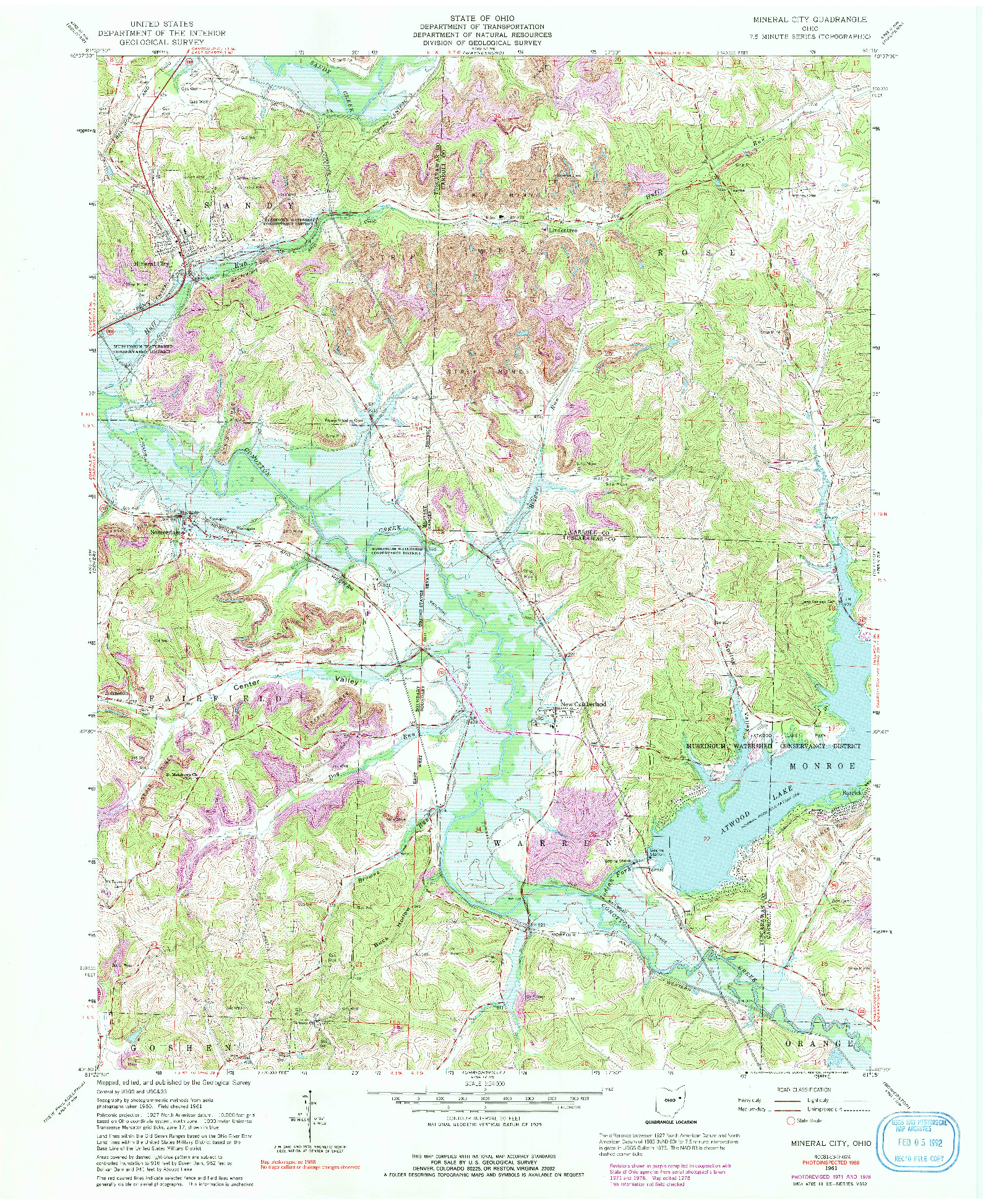 USGS 1:24000-SCALE QUADRANGLE FOR MINERAL CITY, OH 1961