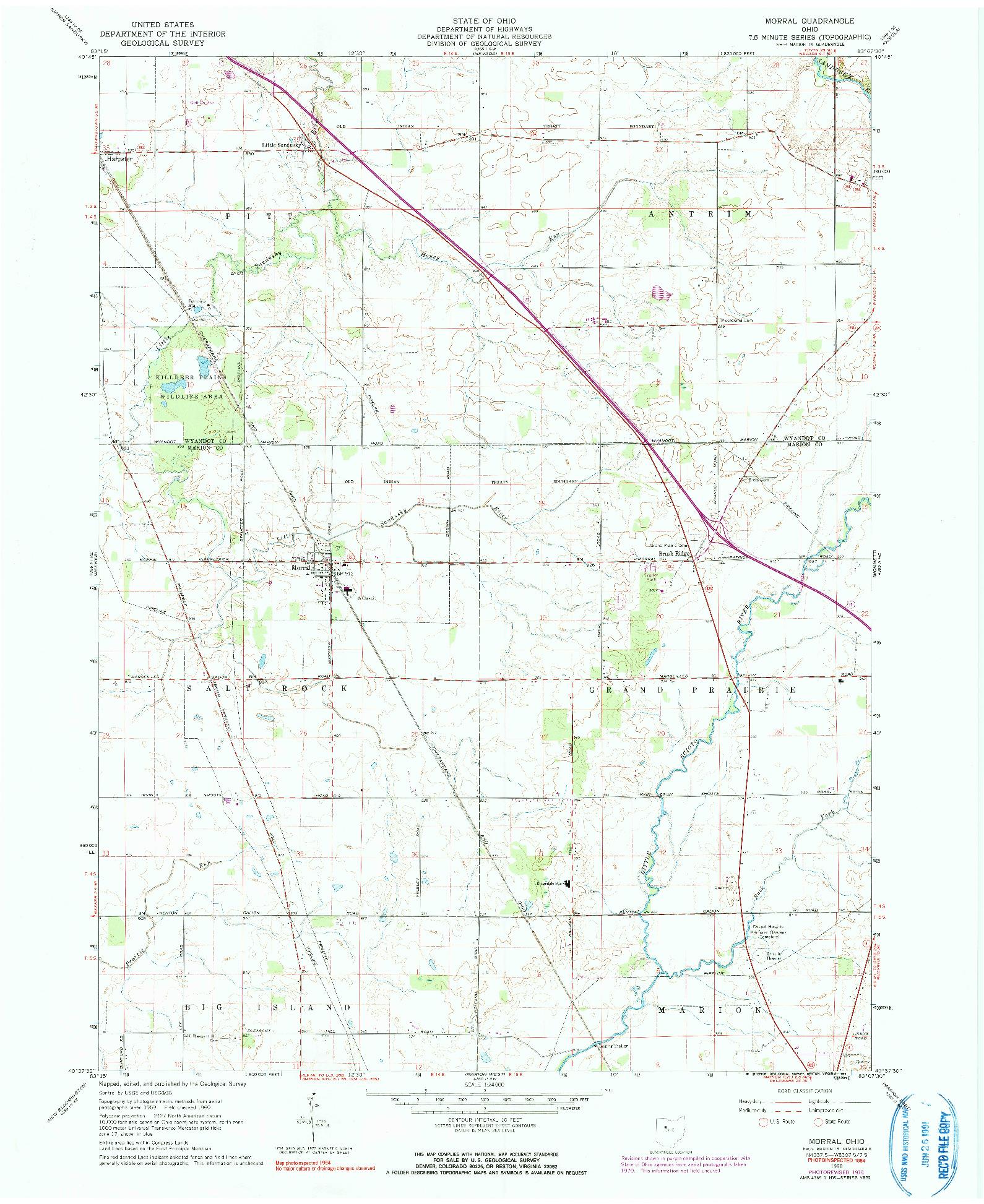 USGS 1:24000-SCALE QUADRANGLE FOR MORRAL, OH 1960