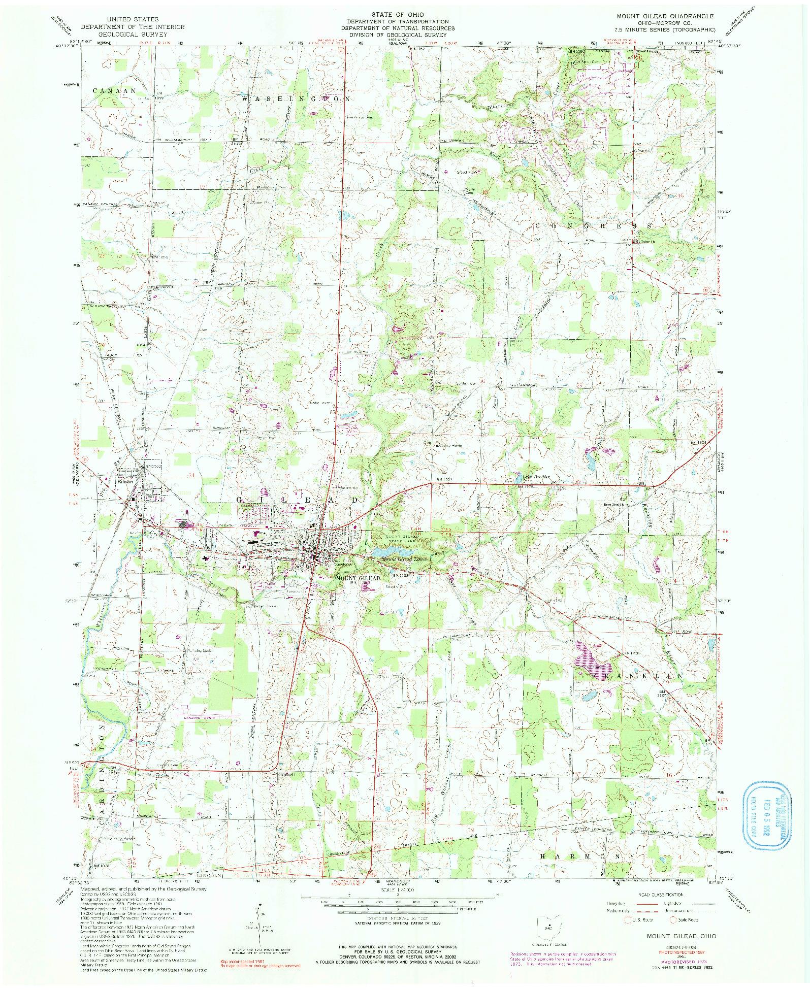 USGS 1:24000-SCALE QUADRANGLE FOR MOUNT GILEAD, OH 1961