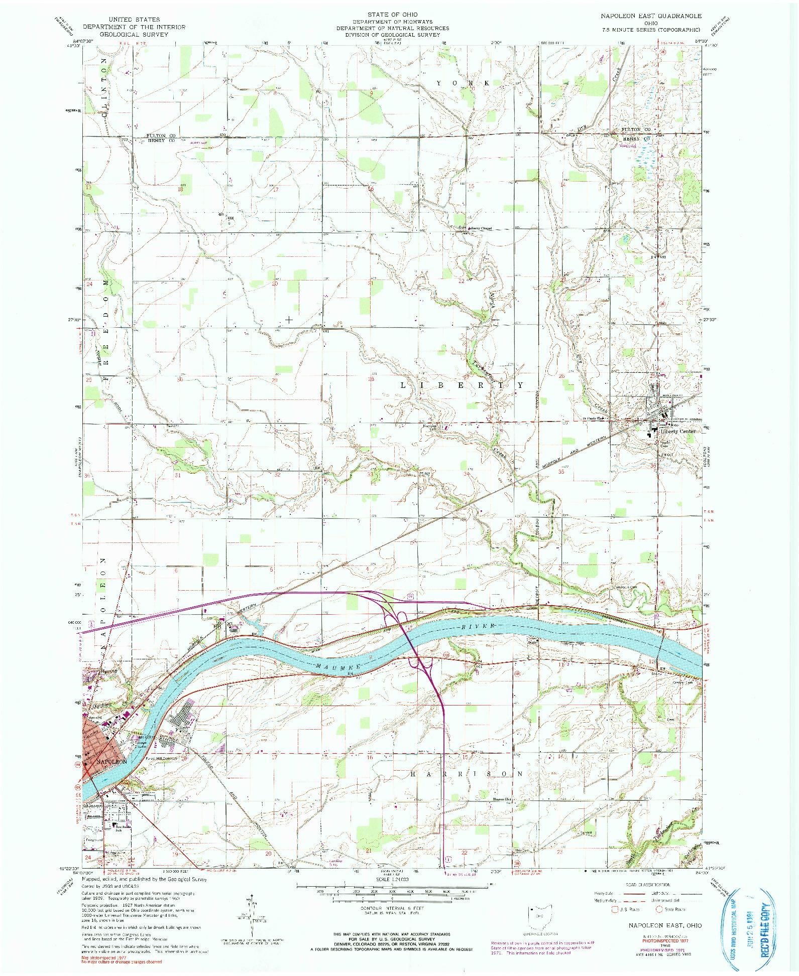 USGS 1:24000-SCALE QUADRANGLE FOR NAPOLEON EAST, OH 1960