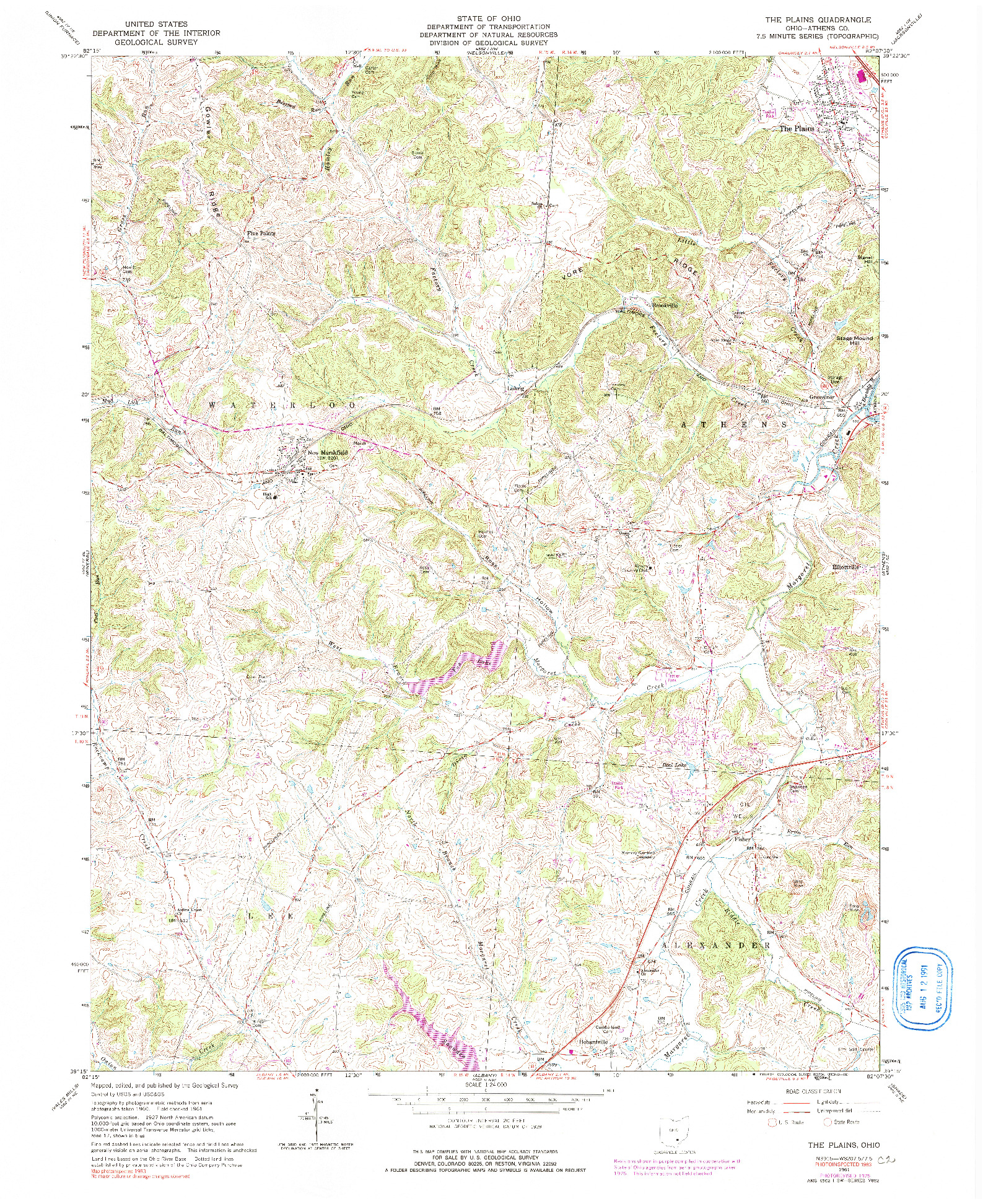 USGS 1:24000-SCALE QUADRANGLE FOR THE PLAINS, OH 1961