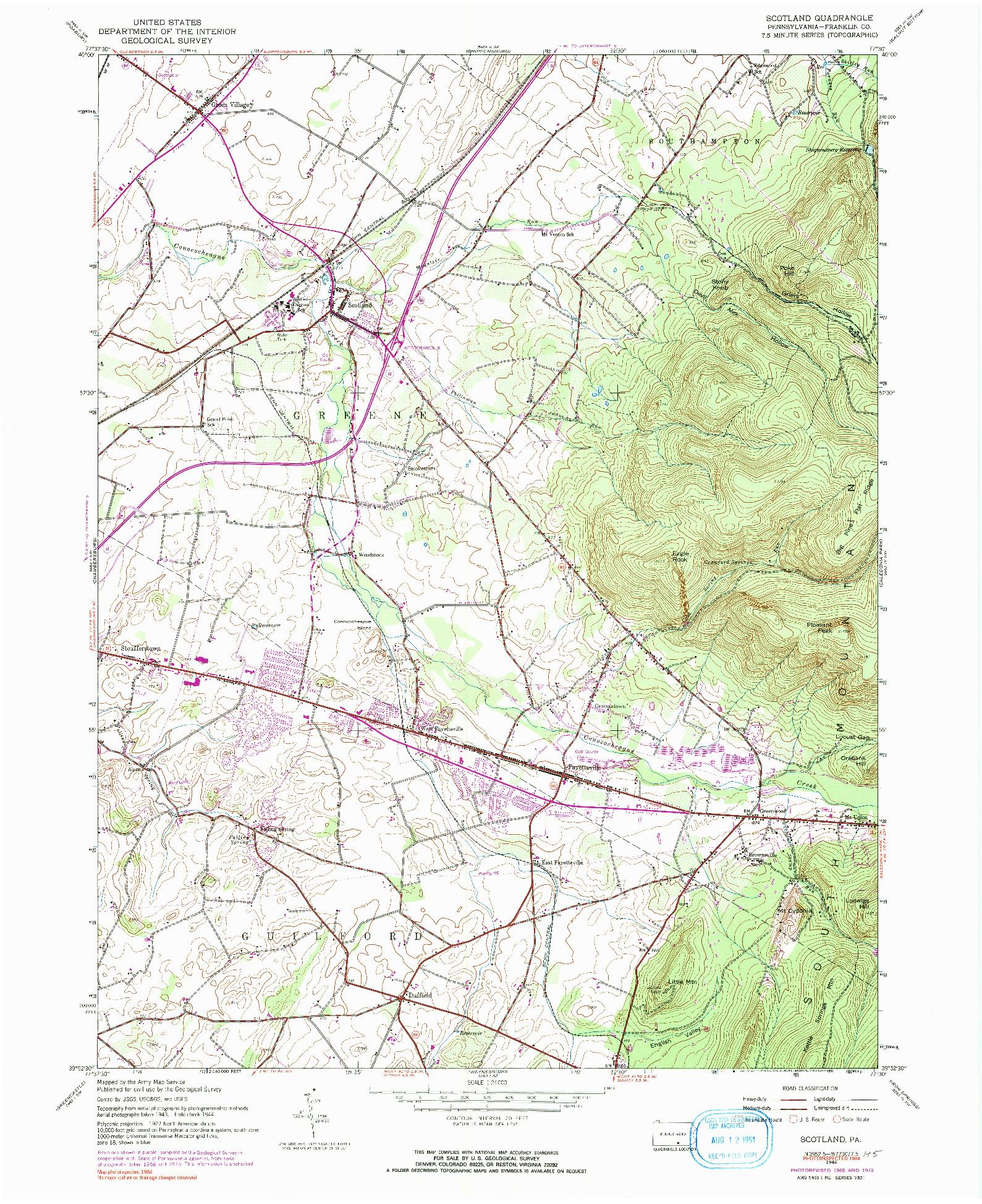 USGS 1:24000-SCALE QUADRANGLE FOR SCOTLAND, PA 1944
