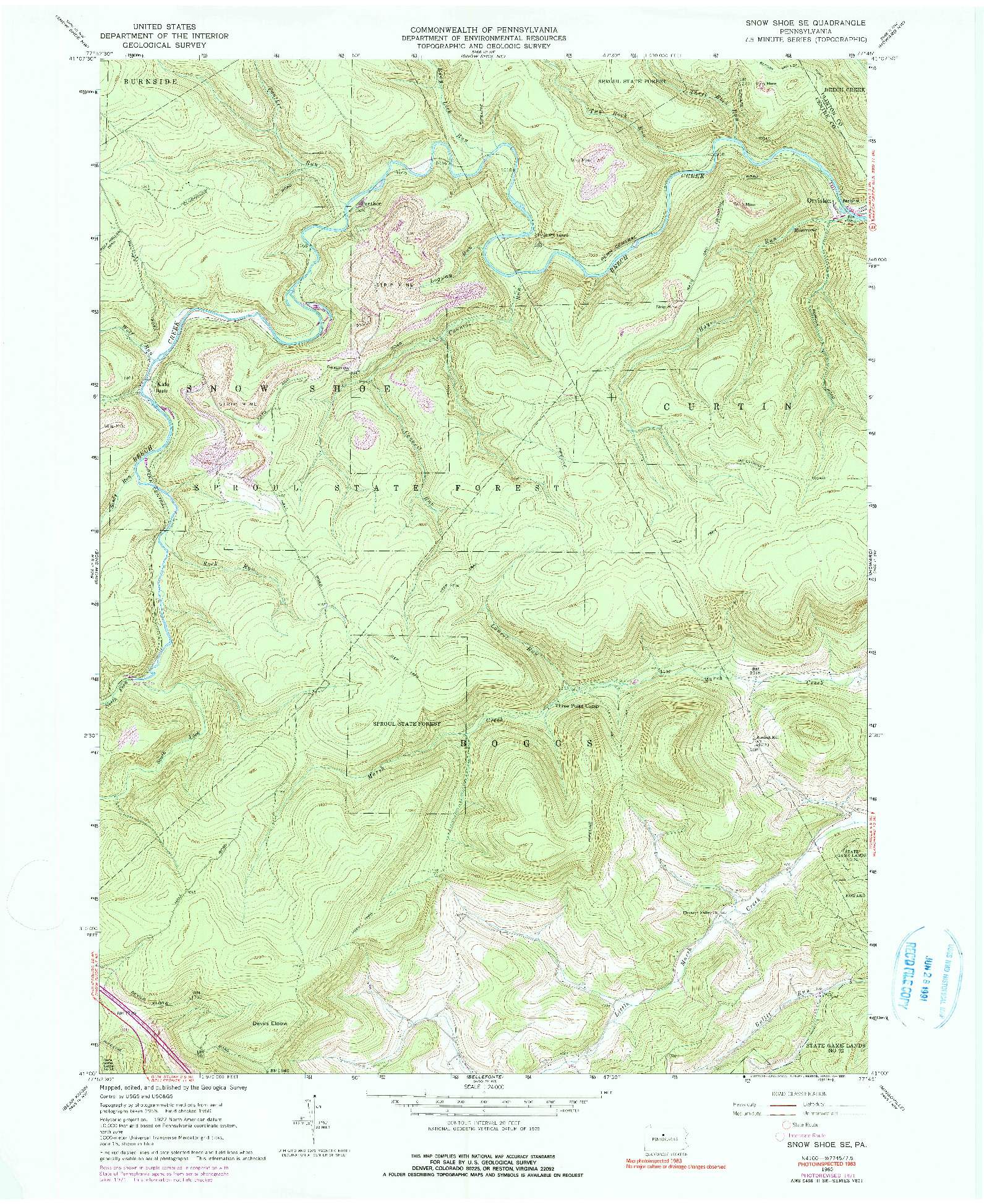 USGS 1:24000-SCALE QUADRANGLE FOR SNOW SHOE SE, PA 1960