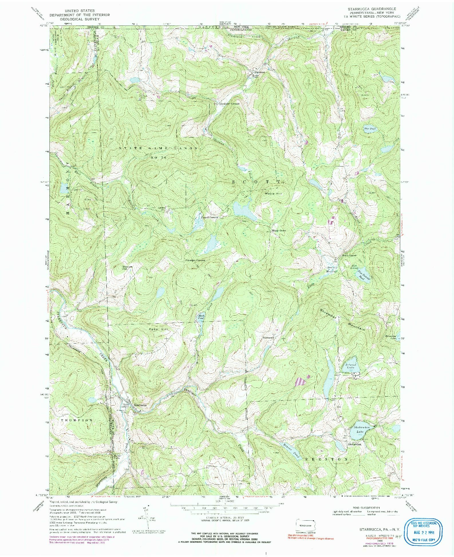 USGS 1:24000-SCALE QUADRANGLE FOR STARRUCCA, PA 1968