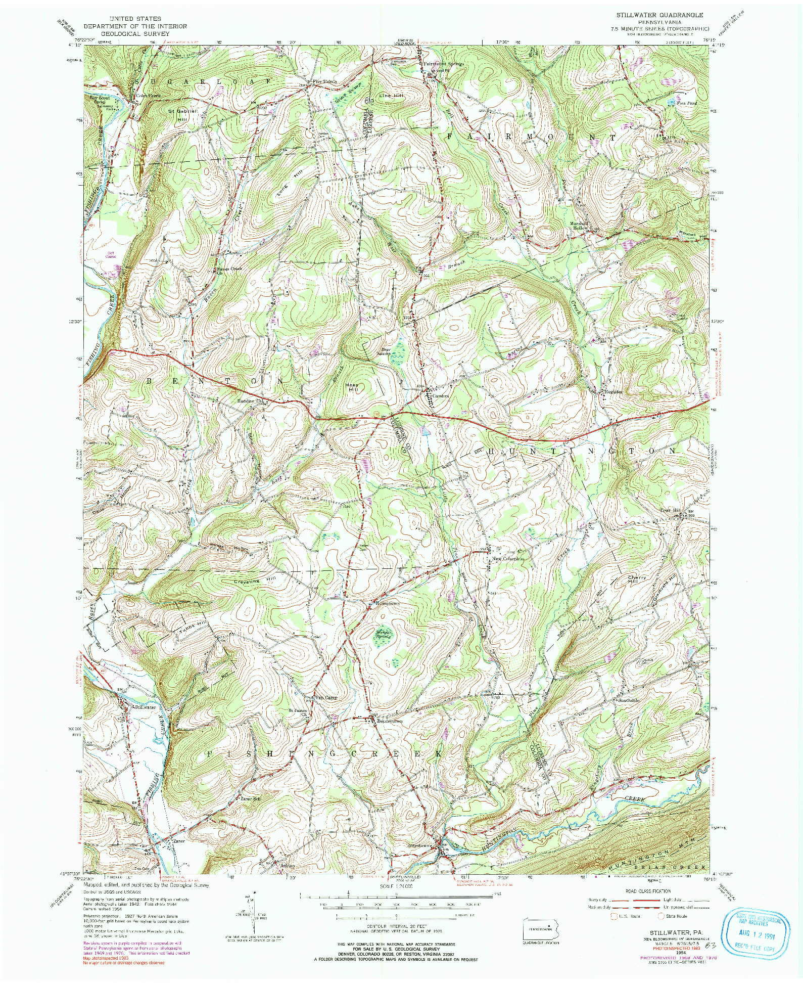 USGS 1:24000-SCALE QUADRANGLE FOR STILLWATER, PA 1954
