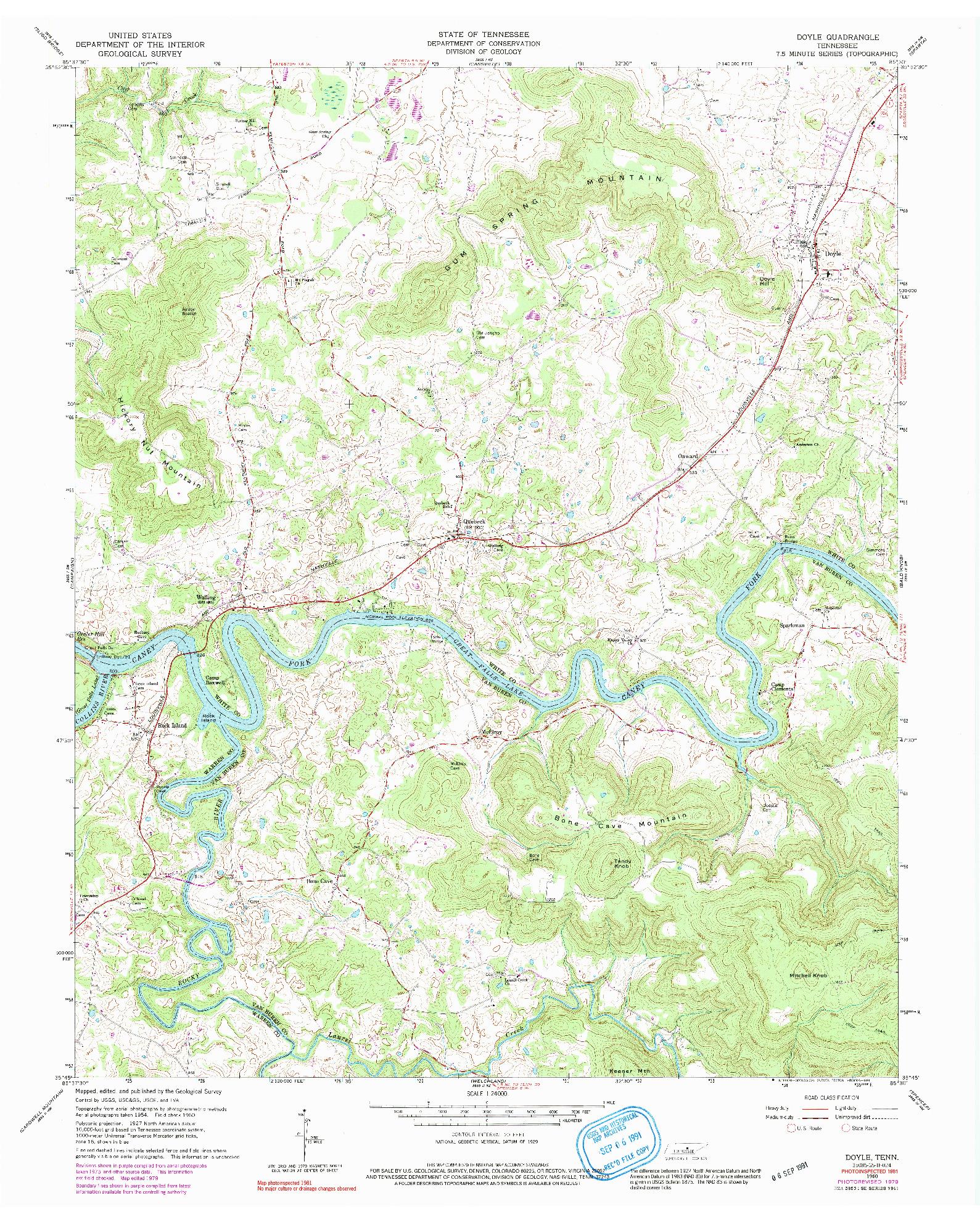 USGS 1:24000-SCALE QUADRANGLE FOR DOYLE, TN 1960