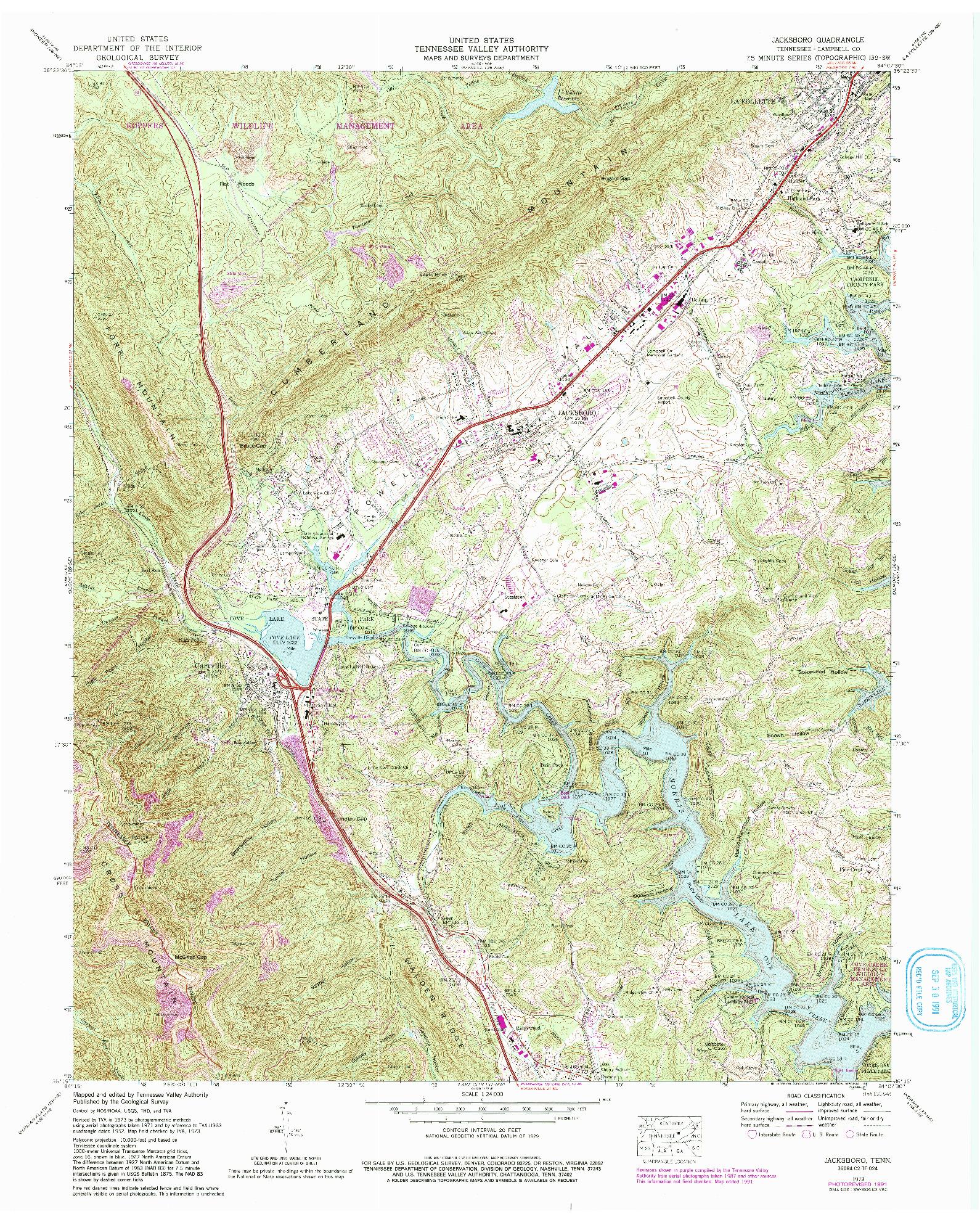 USGS 1:24000-SCALE QUADRANGLE FOR JACKSBORO, TN 1973