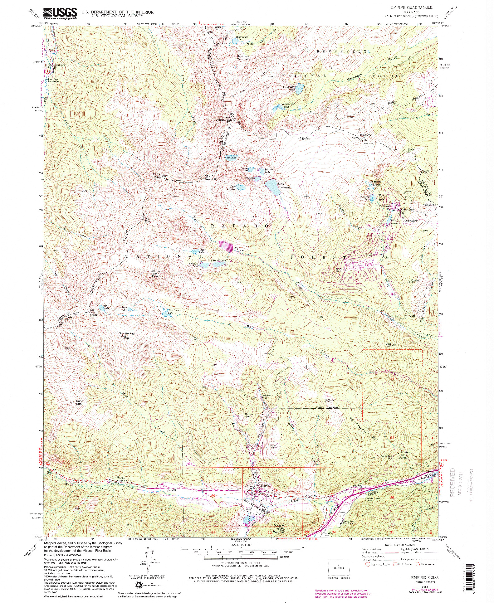 USGS 1:24000-SCALE QUADRANGLE FOR EMPIRE, CO 1958