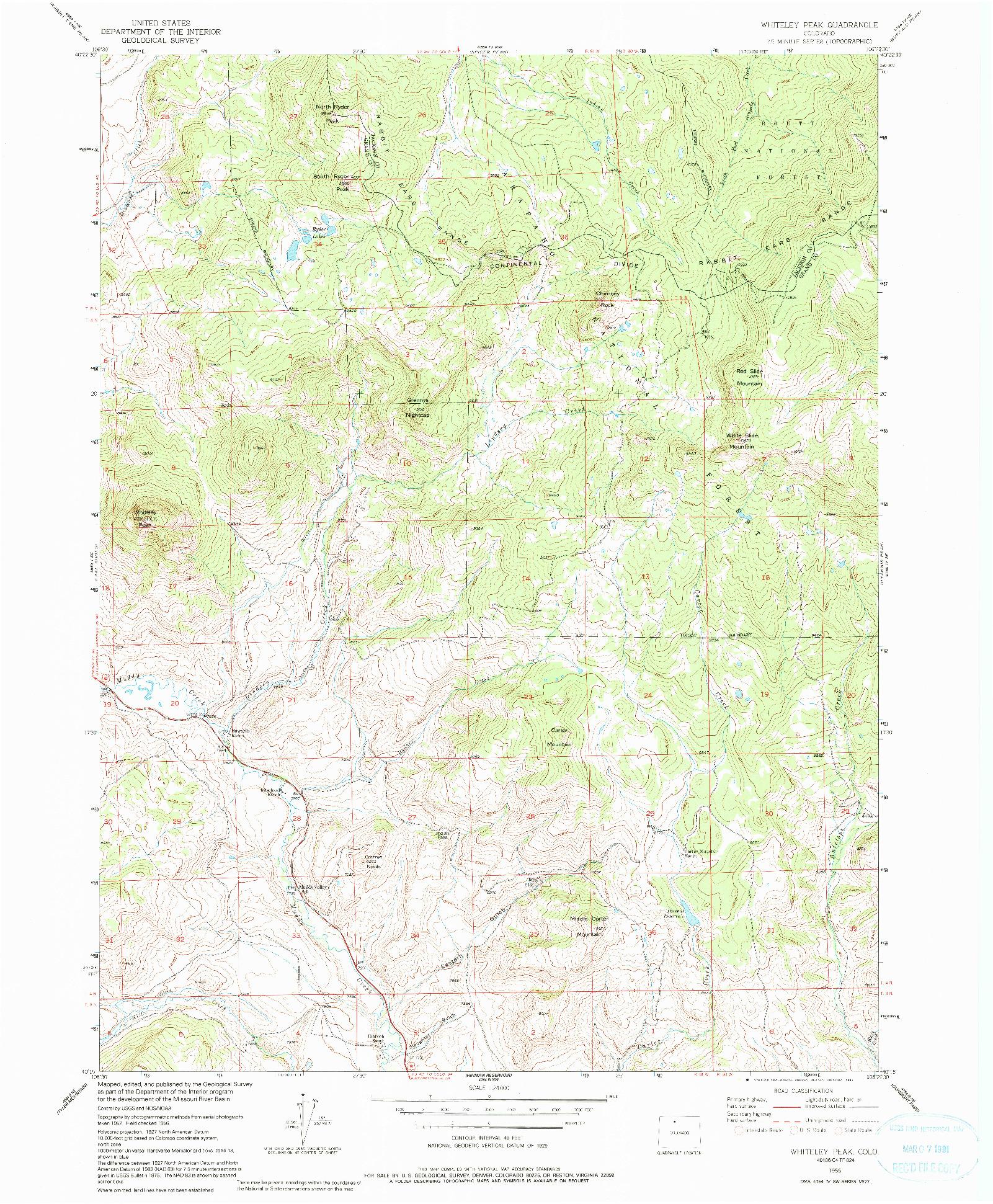 USGS 1:24000-SCALE QUADRANGLE FOR WHITELEY PEAK, CO 1956