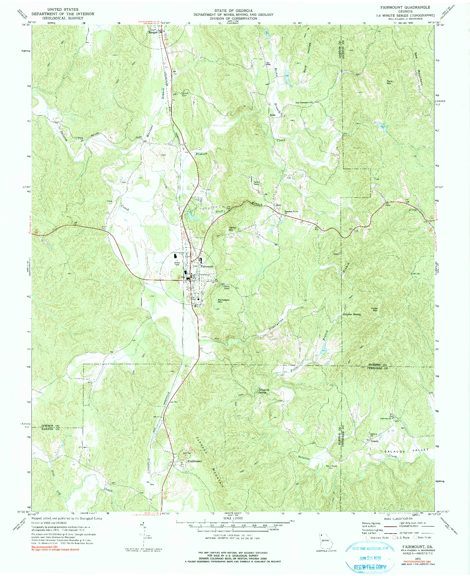 USGS 1:24000-SCALE QUADRANGLE FOR FAIRMOUNT, GA 1972