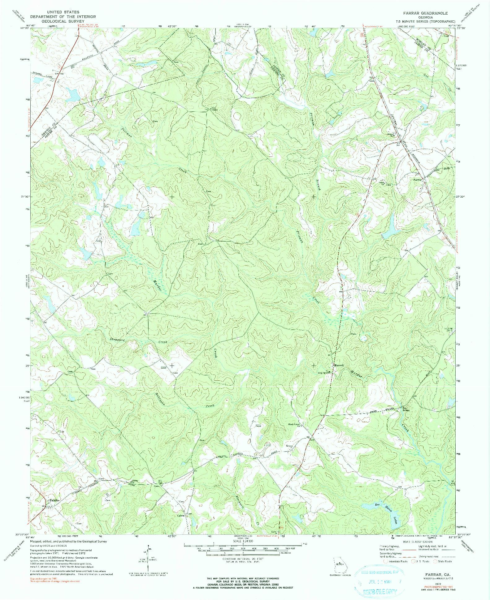 USGS 1:24000-SCALE QUADRANGLE FOR FARRAR, GA 1972