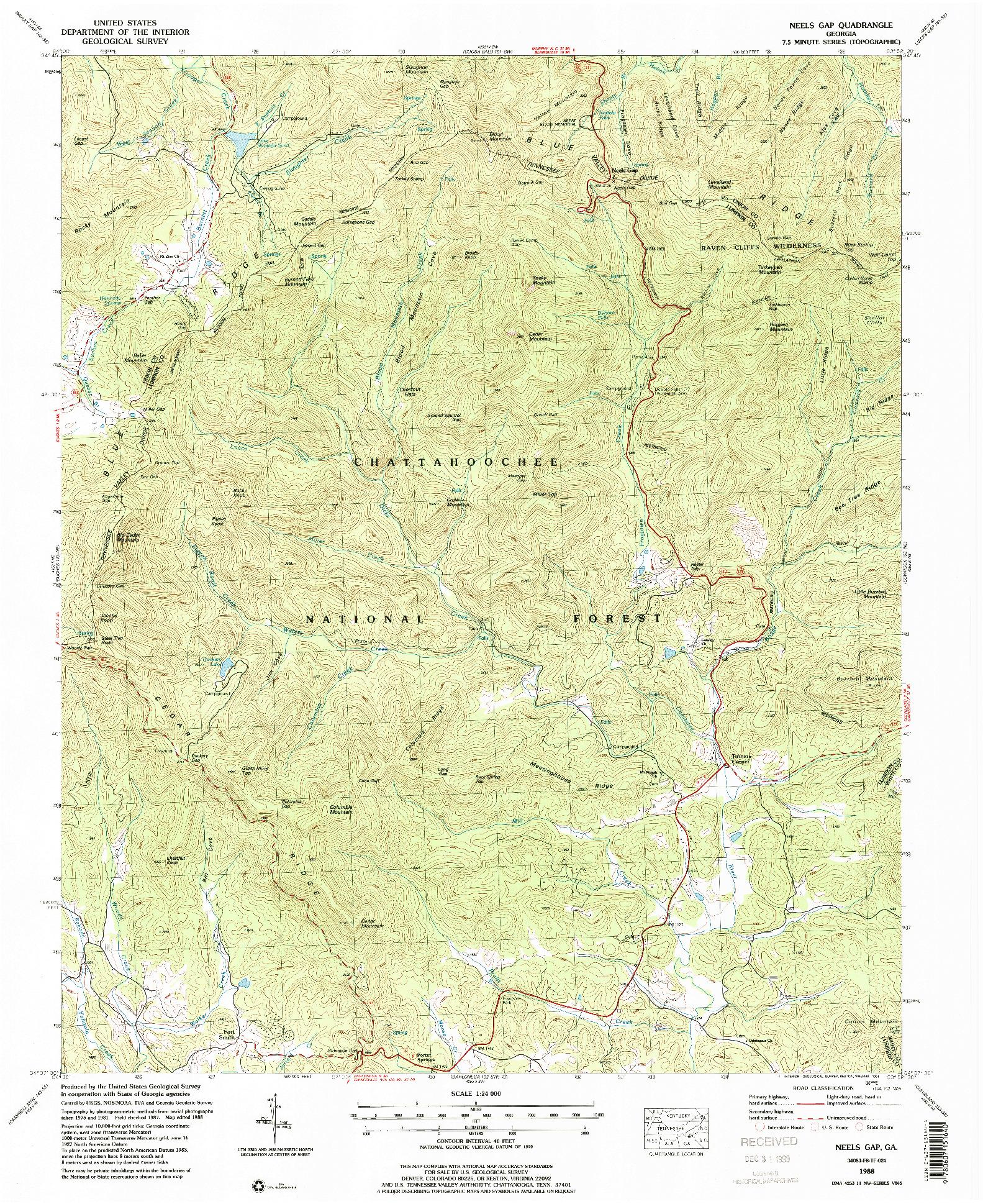 USGS 1:24000-SCALE QUADRANGLE FOR NEELS GAP, GA 1988