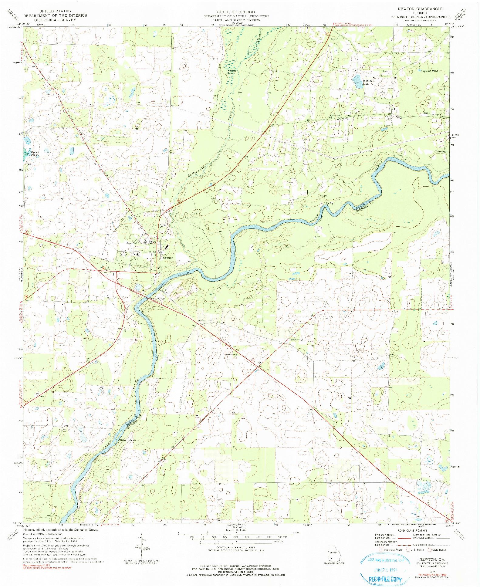 USGS 1:24000-SCALE QUADRANGLE FOR NEWTON, GA 1974