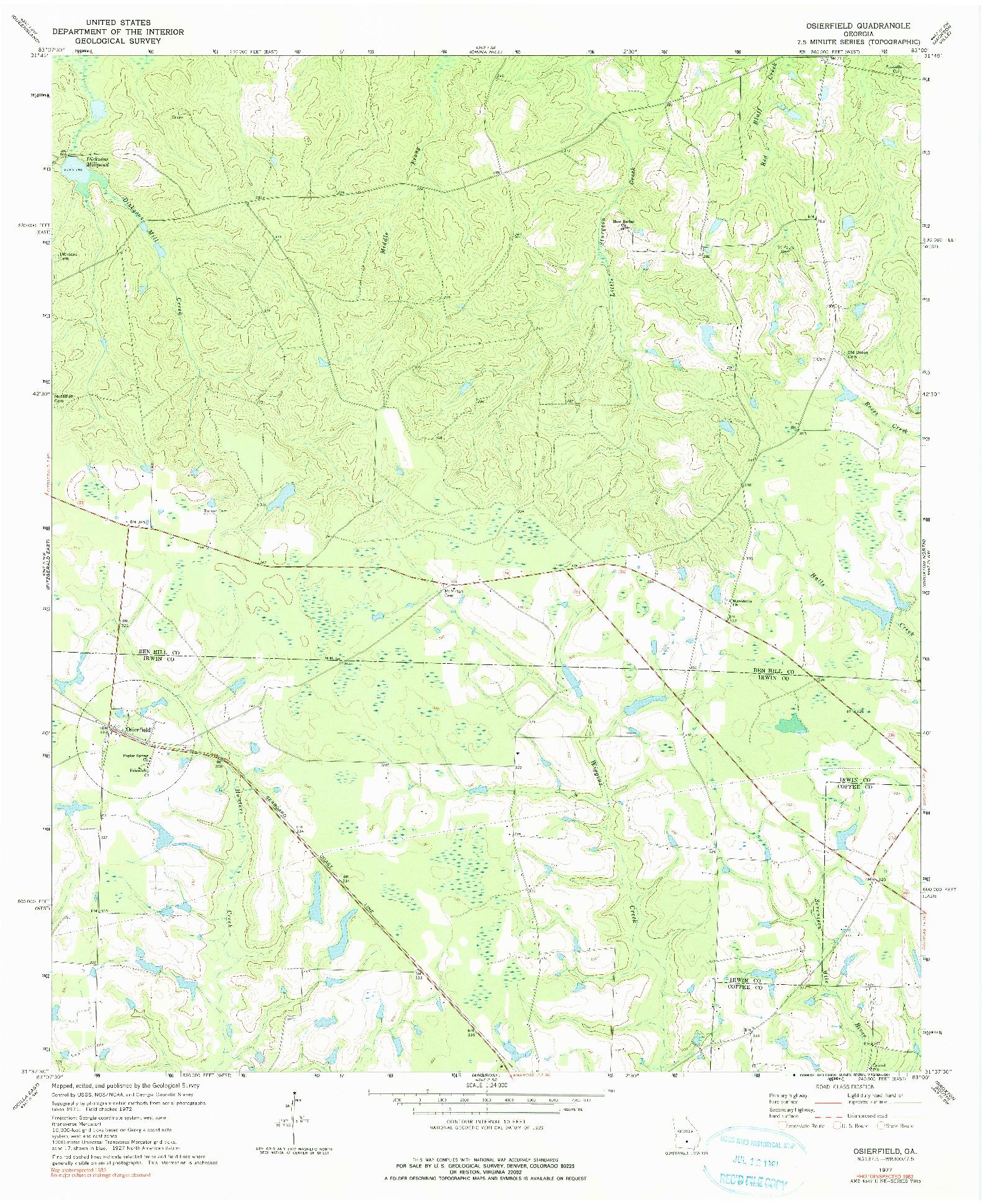USGS 1:24000-SCALE QUADRANGLE FOR OSIERFIELD, GA 1977