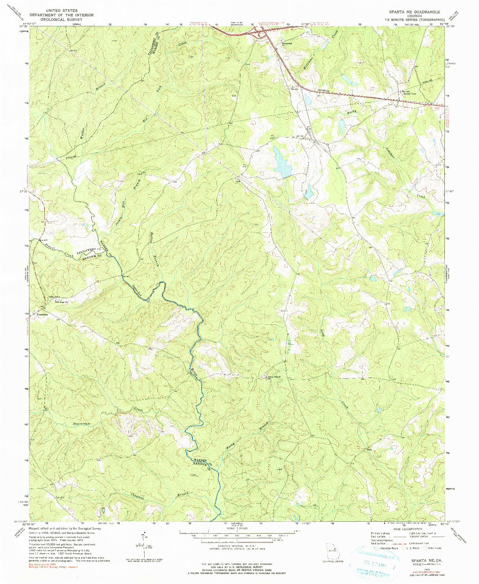 USGS 1:24000-SCALE QUADRANGLE FOR SPARTA NE, GA 1972