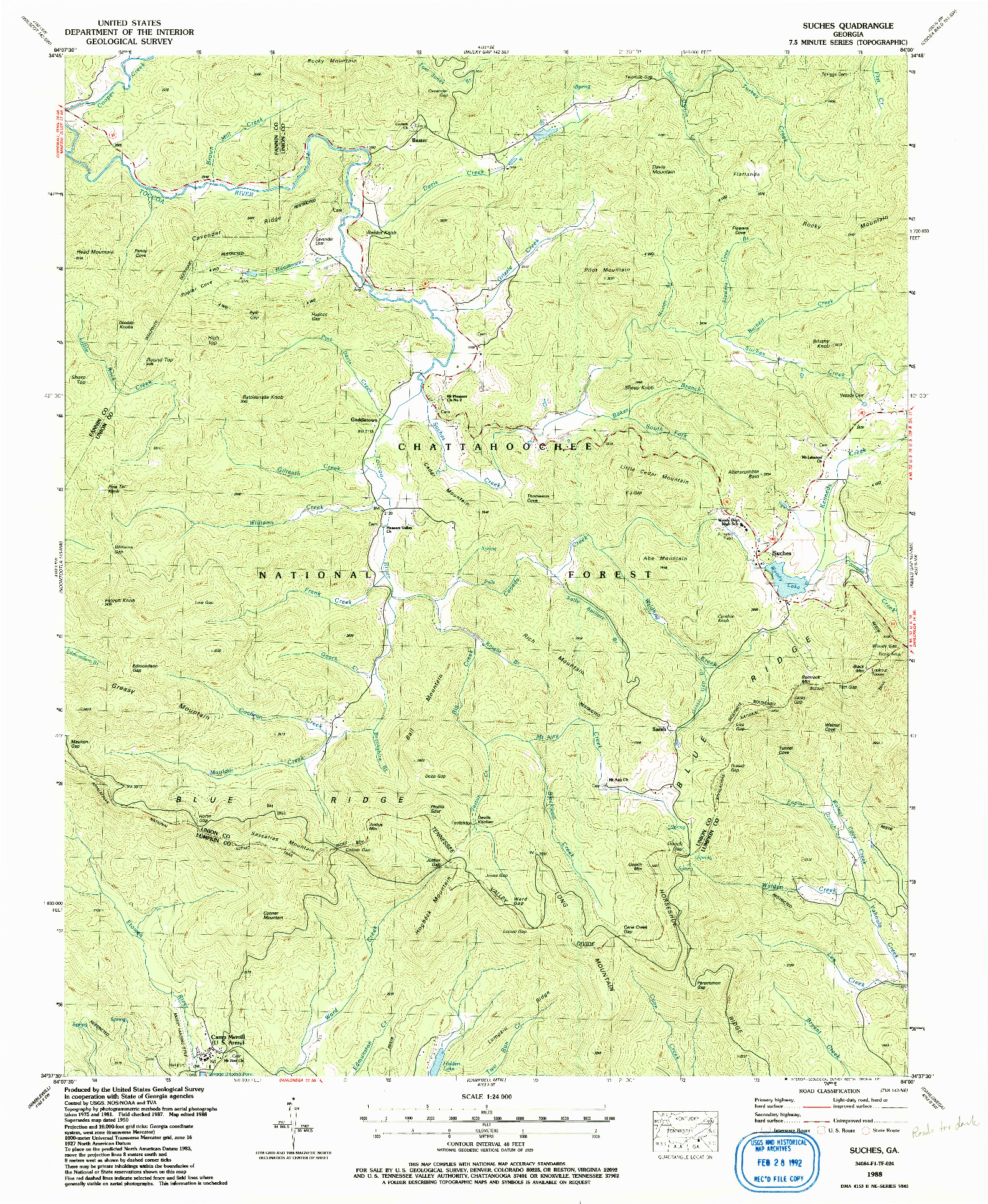 USGS 1:24000-SCALE QUADRANGLE FOR SUCHES, GA 1988
